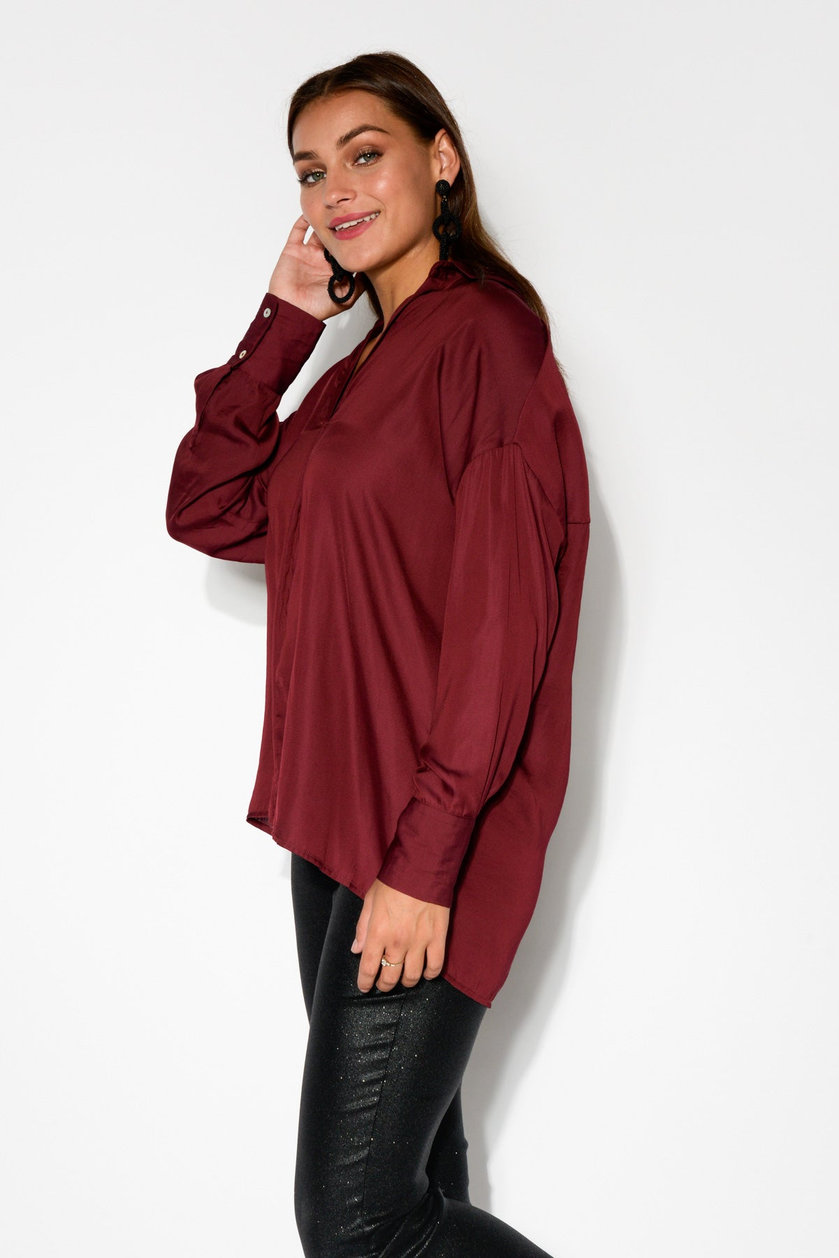 Daya Burgundy Oversized Shirt - Blue Bungalow