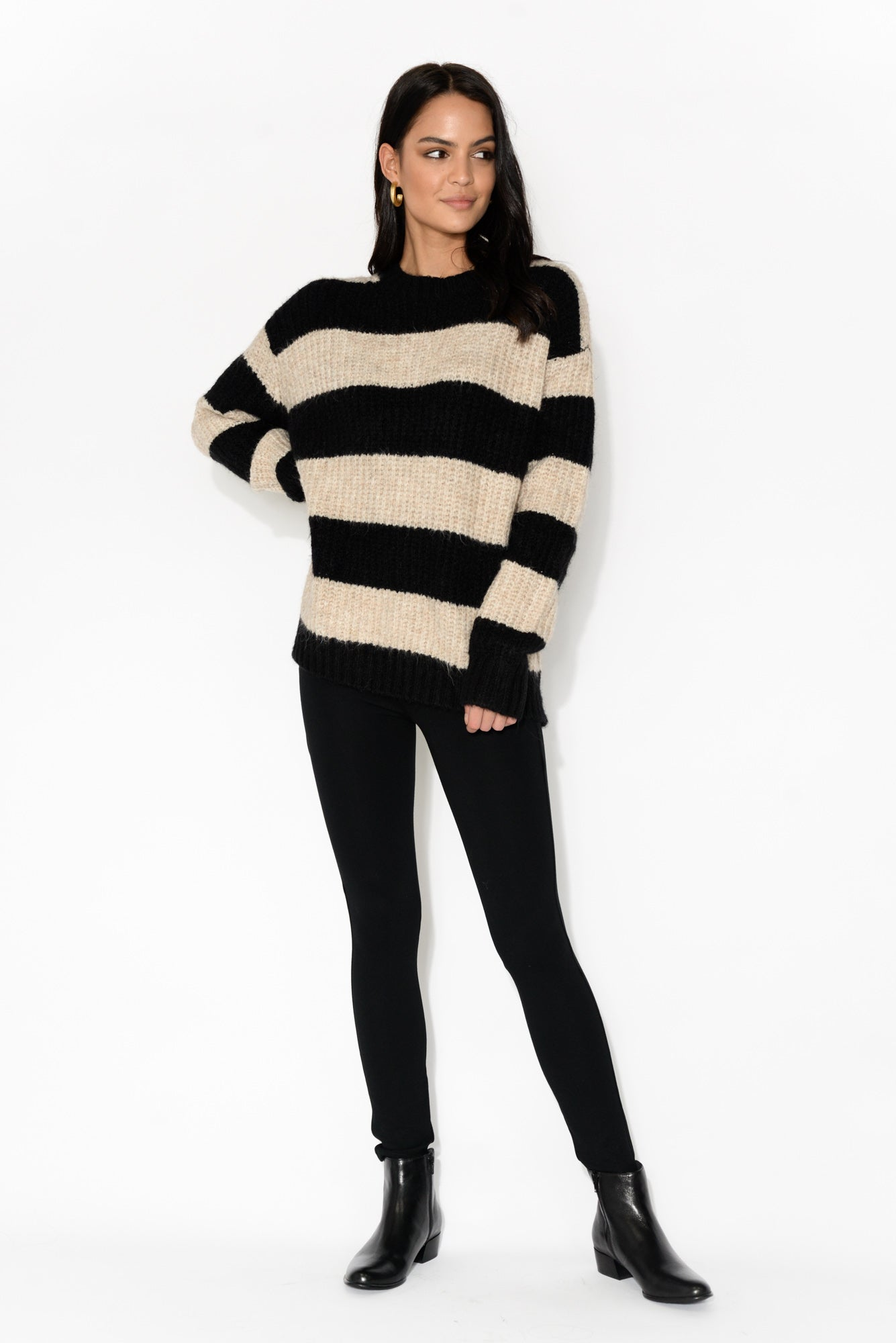 Detroit Black Stripe Knit