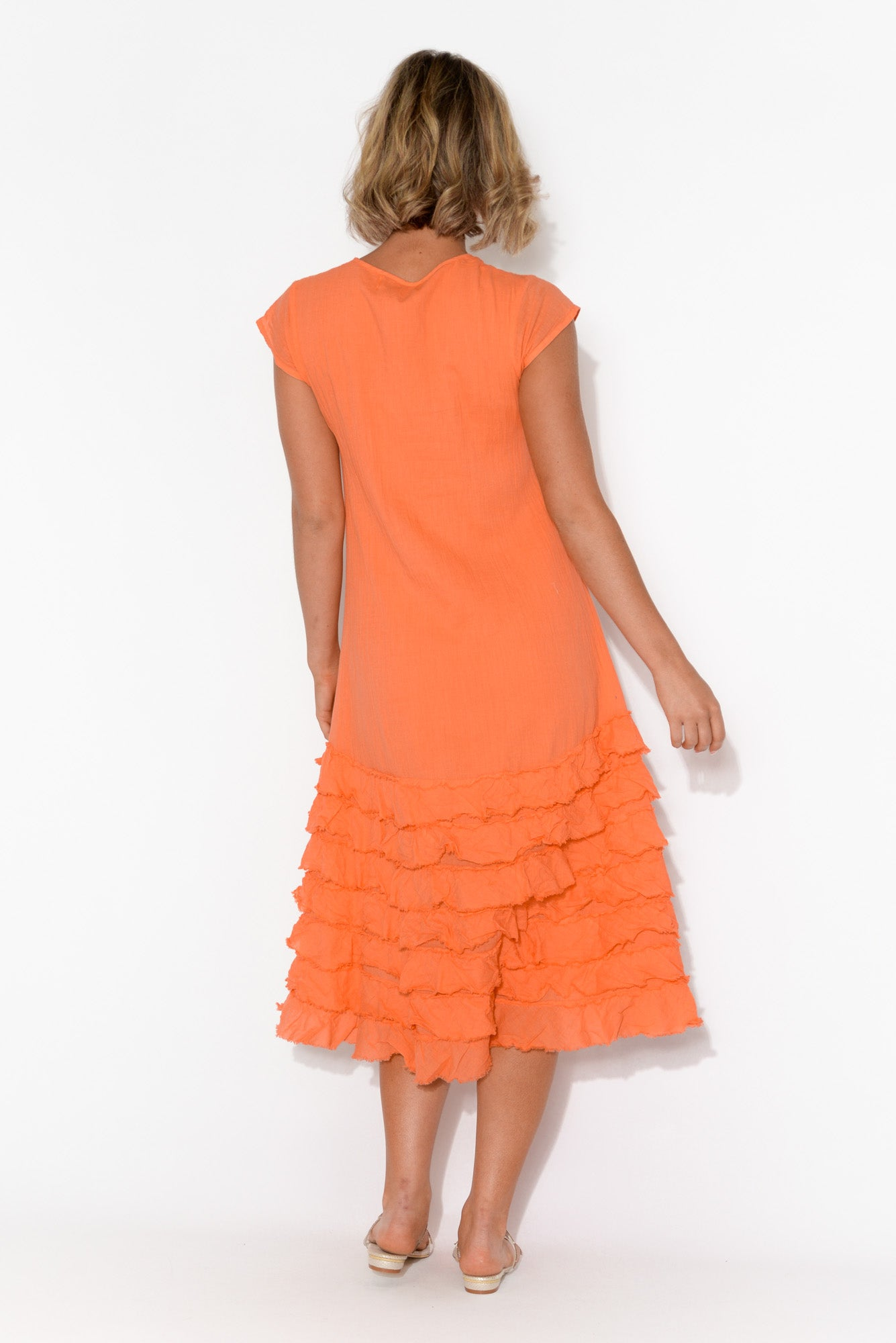 Diana Orange Cotton Tiered Ruffle Dress