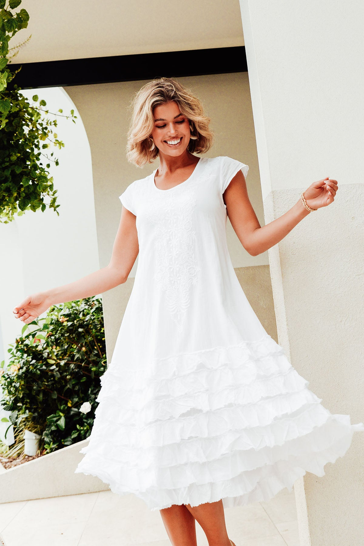 Diana White Cotton Tiered Ruffle Dress
