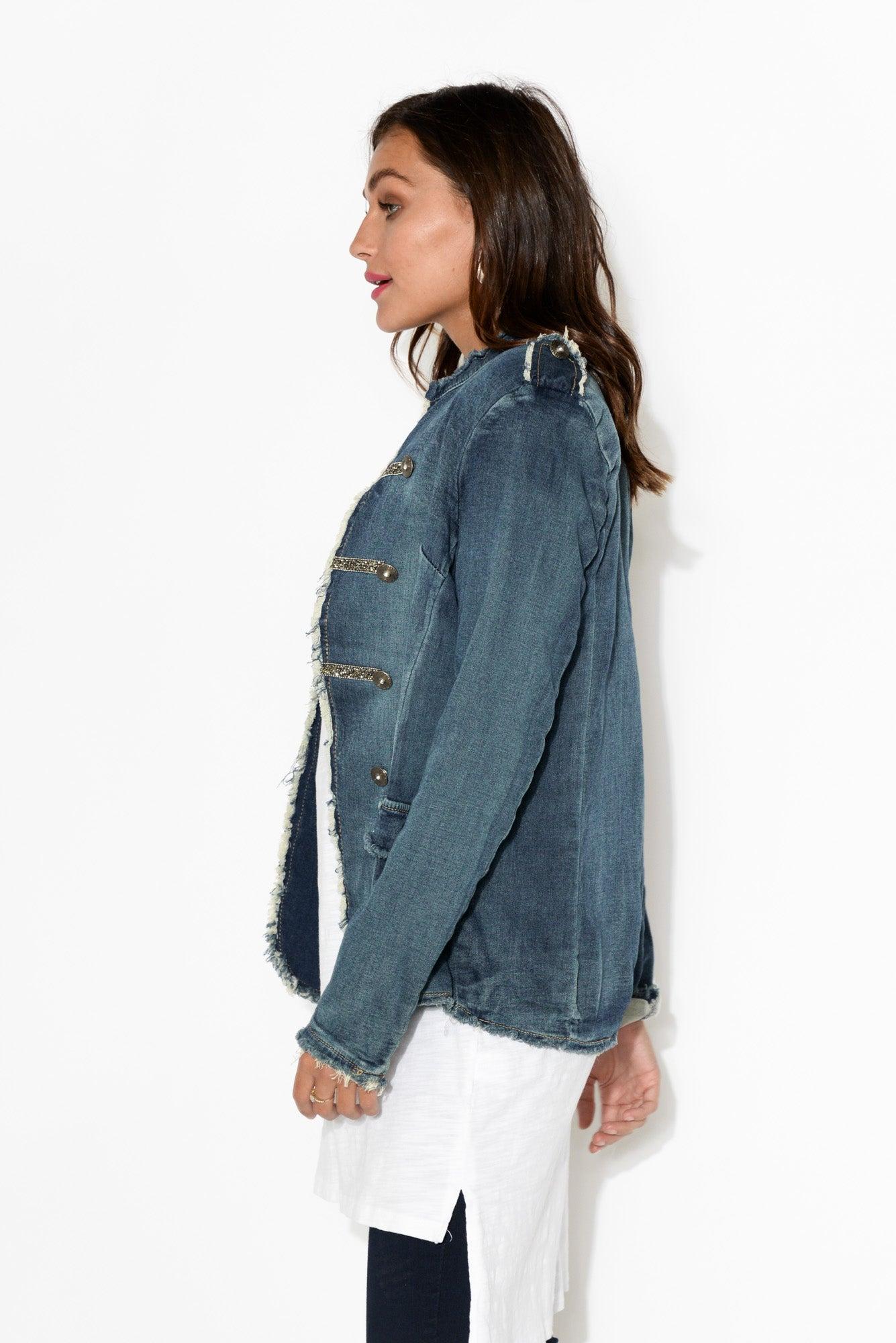 Domenica Dark Denim Cotton Military Jacket