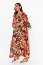 Dominique Orange Zebra Maxi Dress
