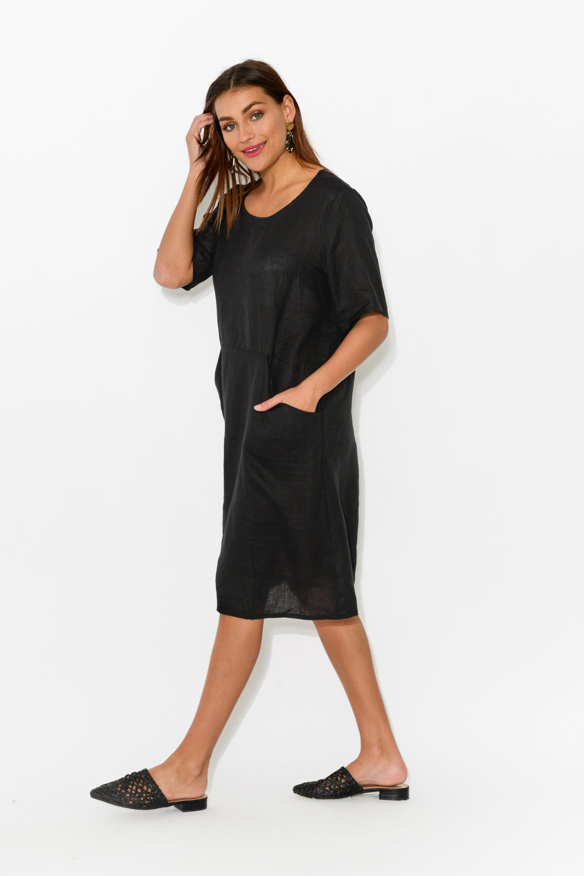 Dora Black Linen Pocket Dress - Blue Bungalow