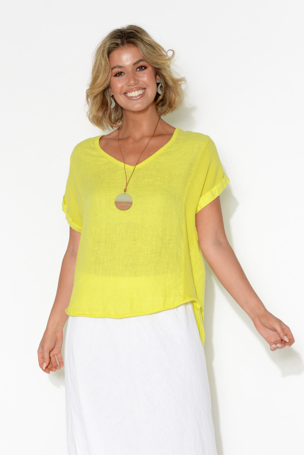 Dorian Yellow Linen Cotton Top