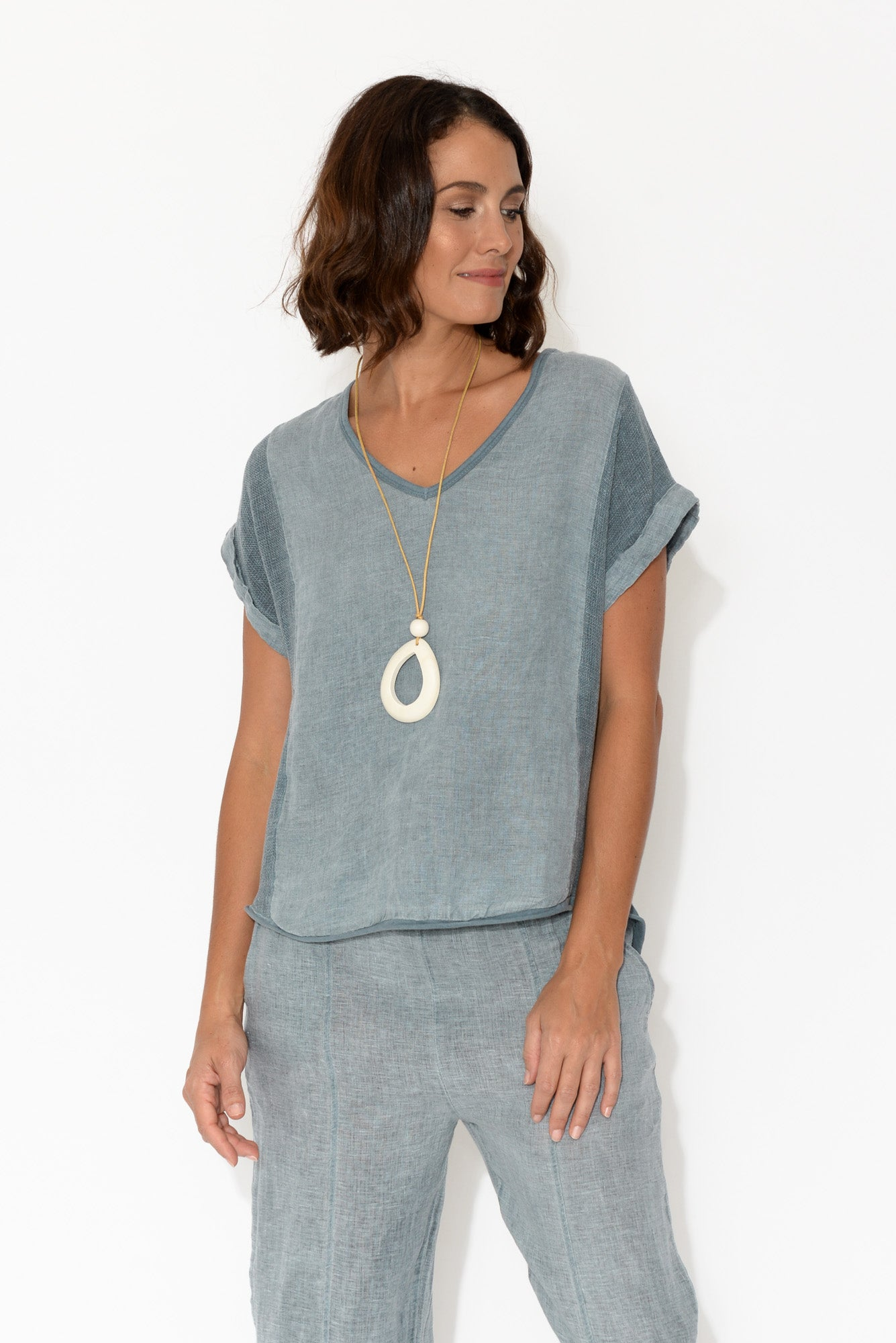 Dorian Blue Linen Top