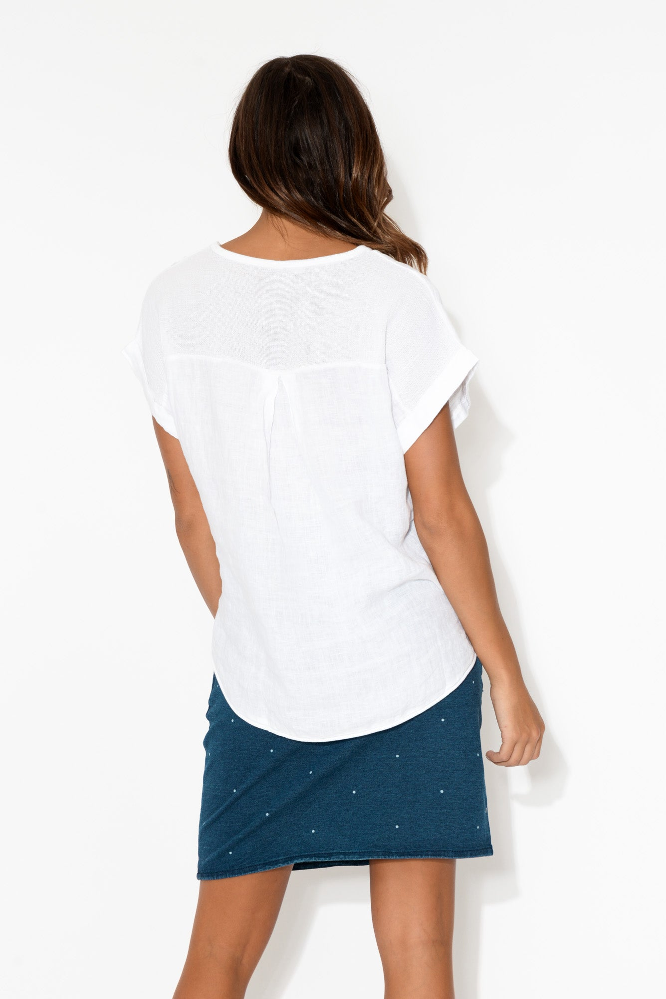 Dorian White Linen Cotton Top