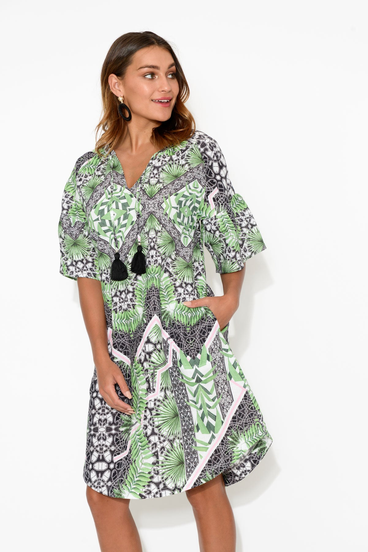 Drew Floripa Ruffle Sleeve Dress