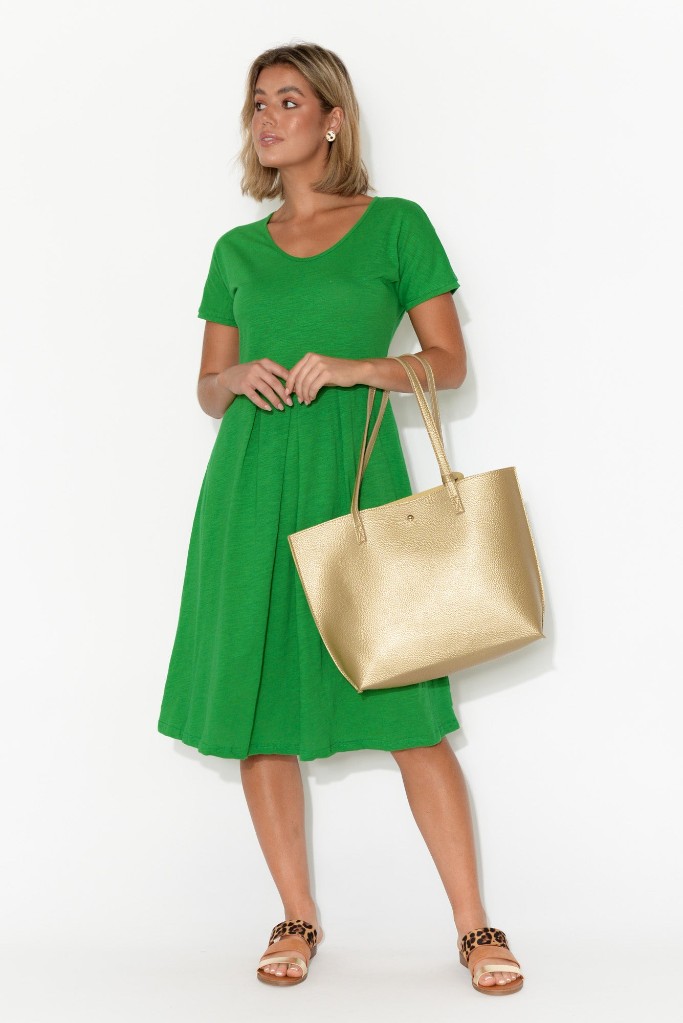 Edie Green Cotton Slub Dress