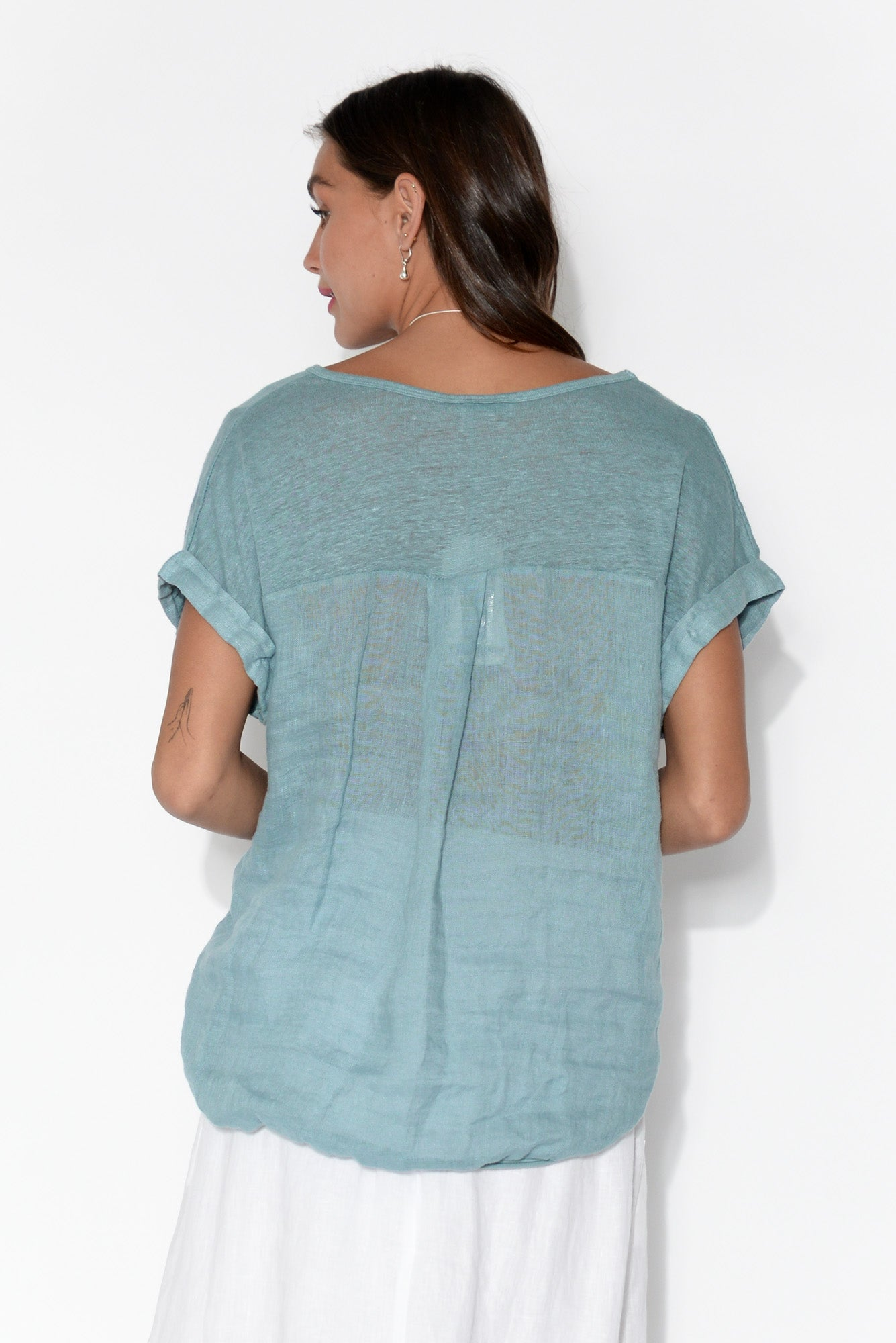 Effie Light Blue Linen Tee