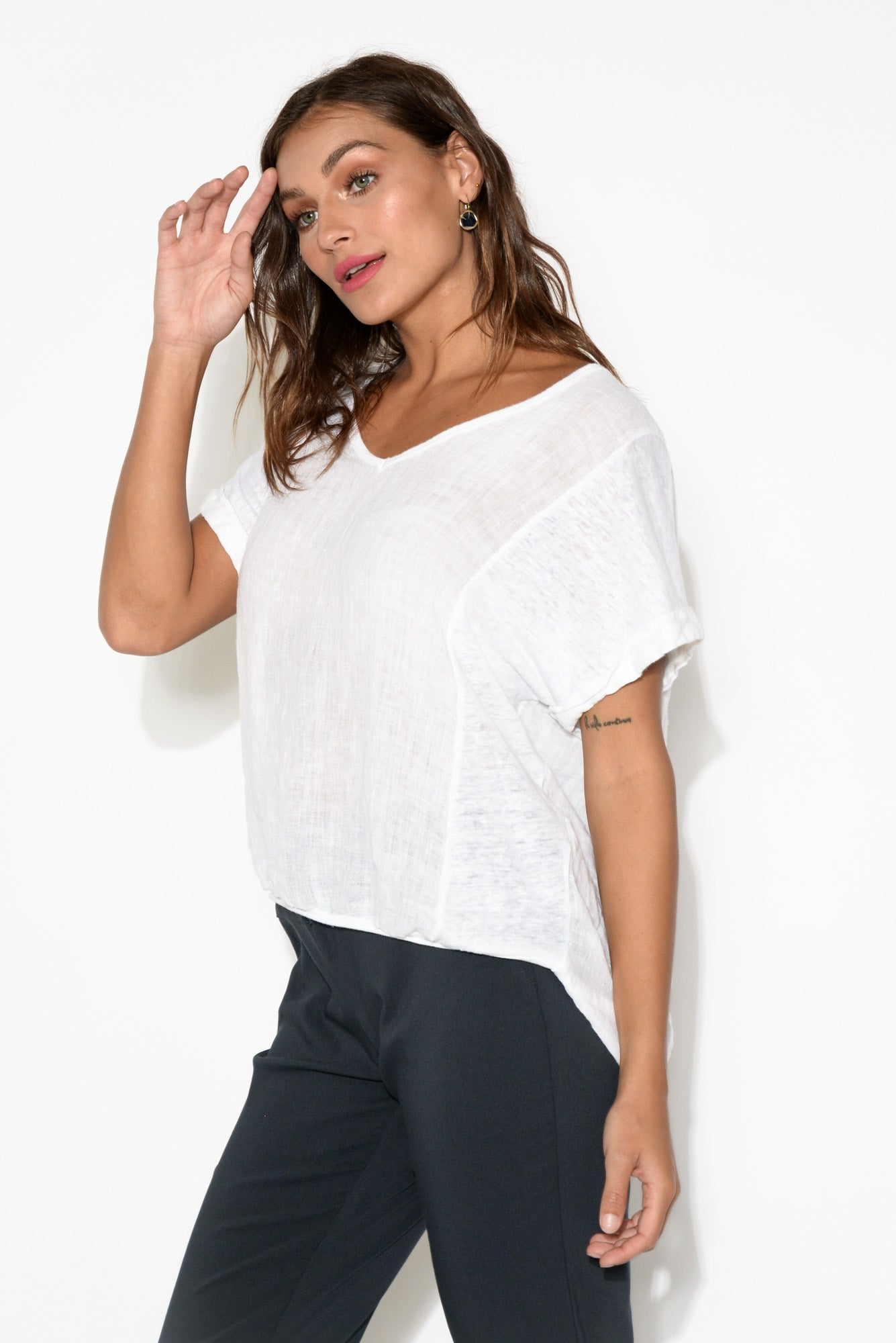Effie White Linen Tee