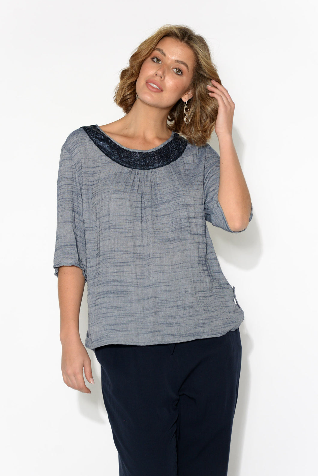 Eileen Blue Sequined Neckline Top
