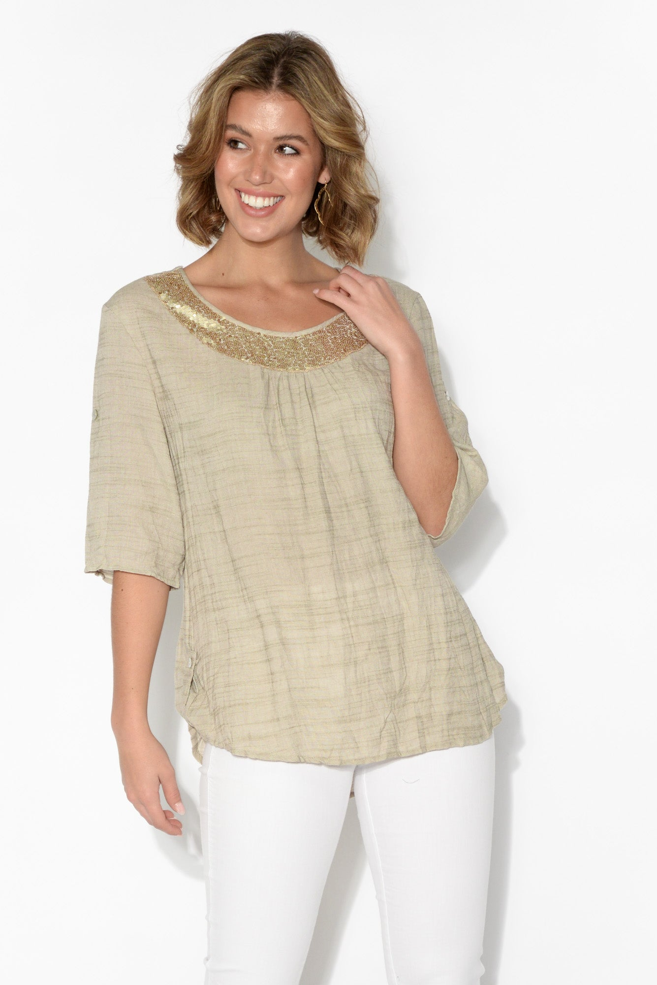 Eileen Natural Sequined Neckline Top