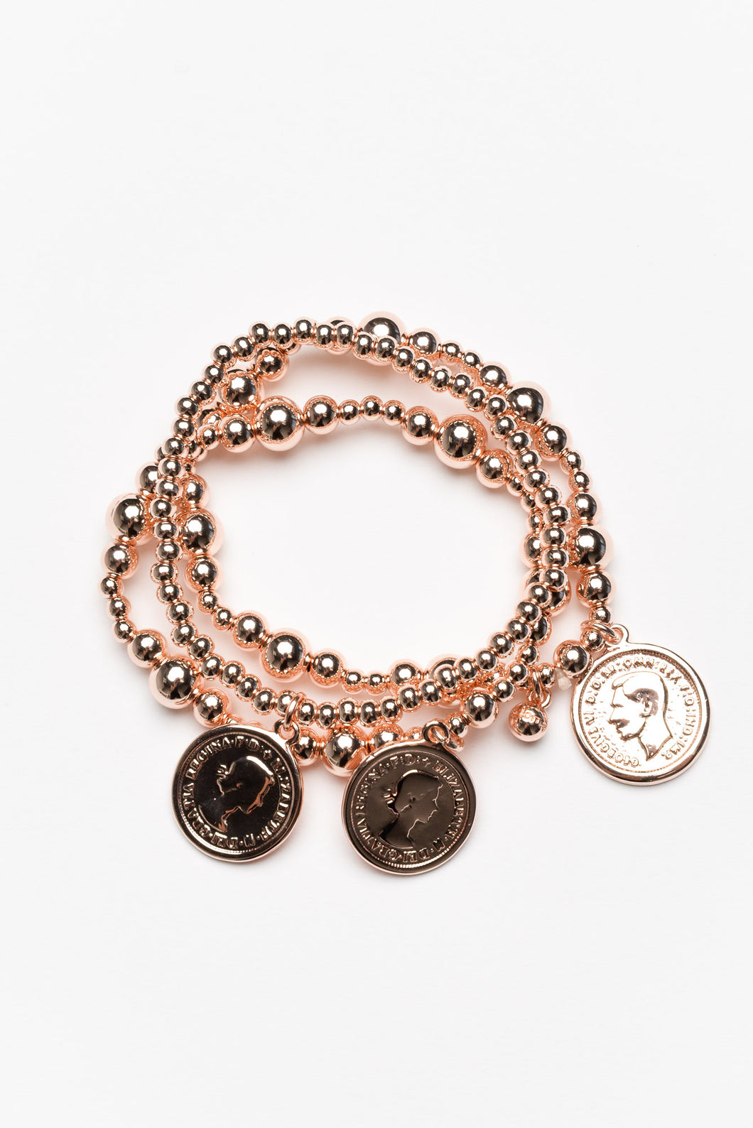 Elena Rose Gold Coin Bracelet Set