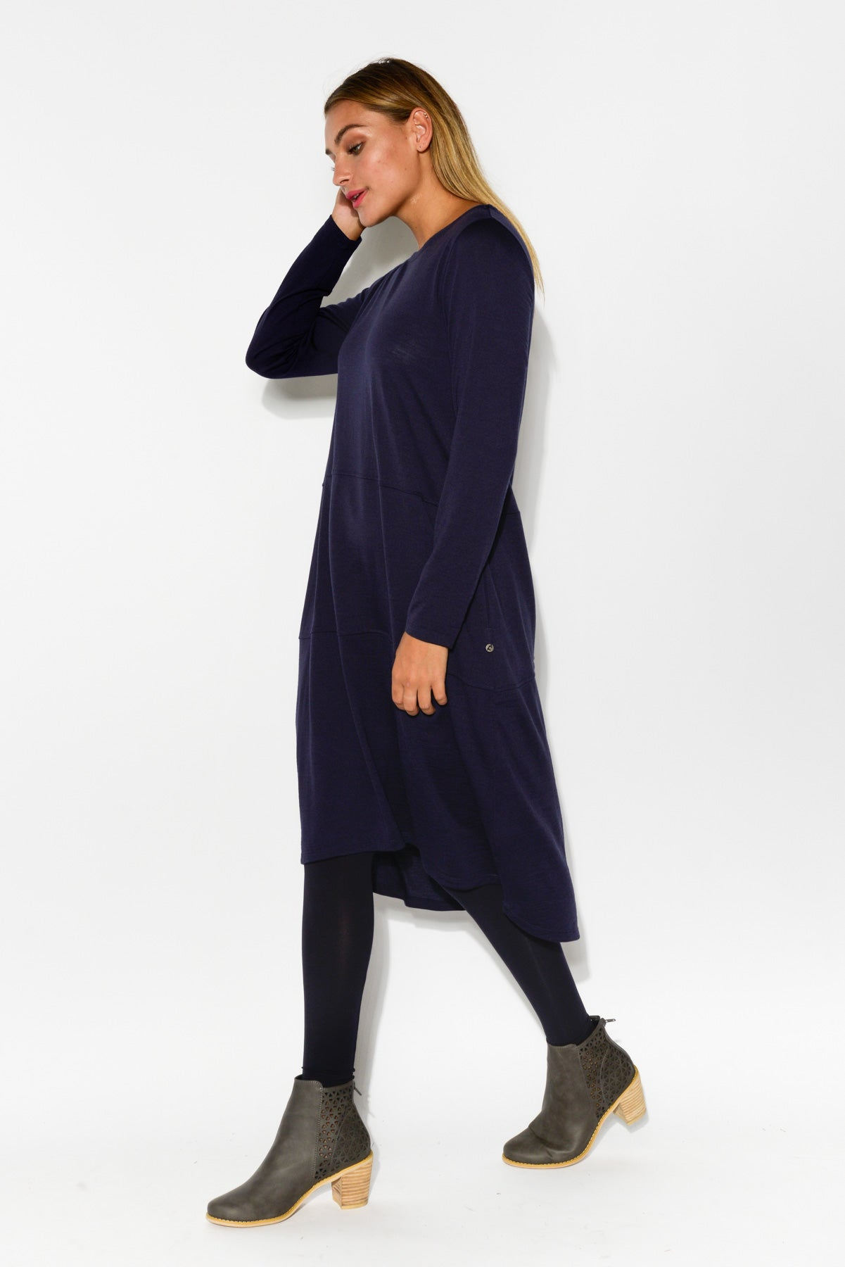 Elizabeth Navy Merino Wool Dress - Blue Bungalow