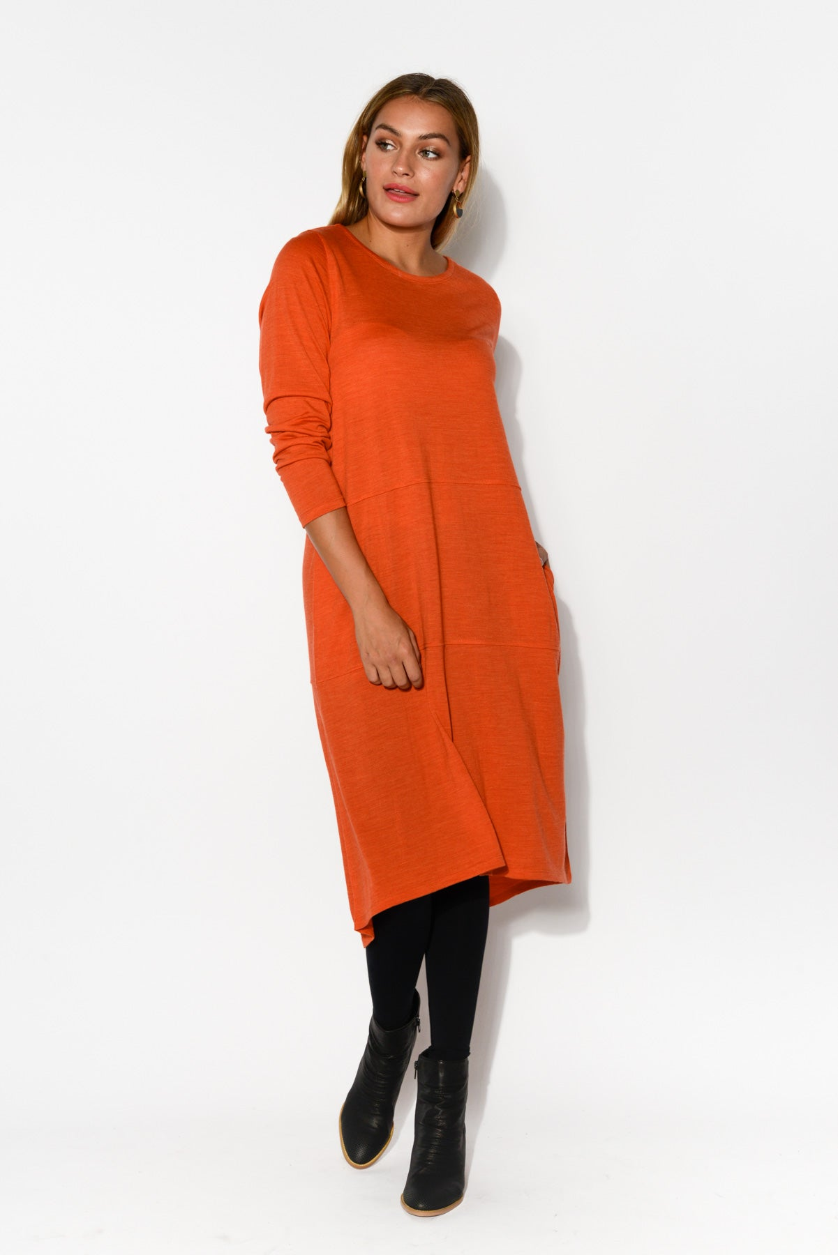 Elizabeth Orange Merino Wool Dress - Blue Bungalow