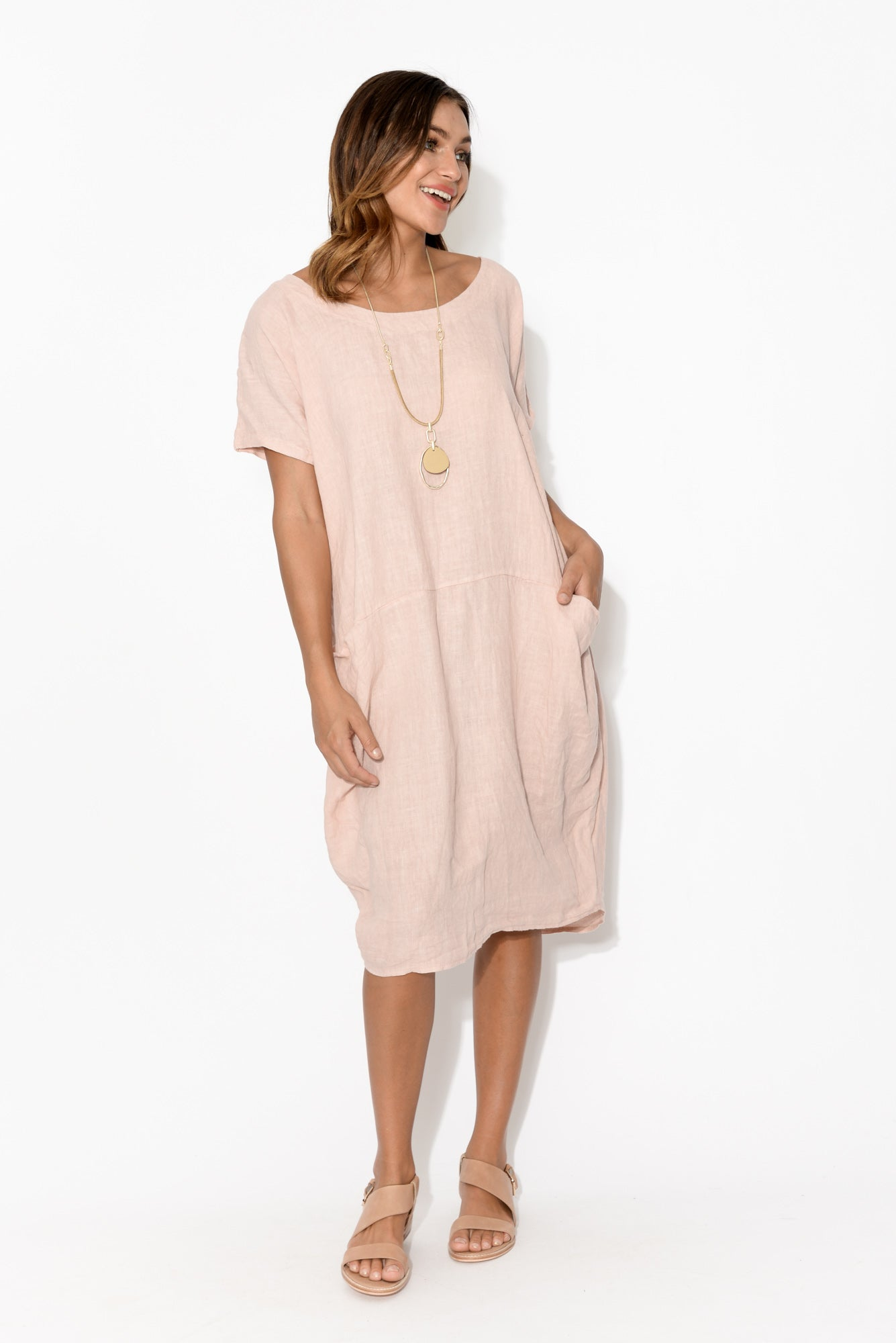 Ella Blush Linen Dress