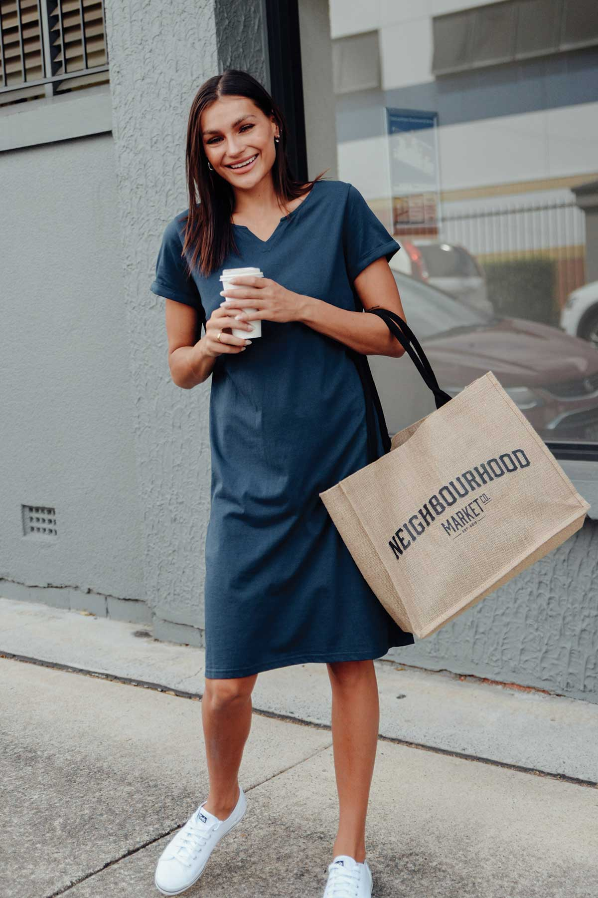 Ellie Navy Cotton Tee Dress