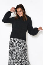 Ellie Black Balloon Sleeve Knit Jumper