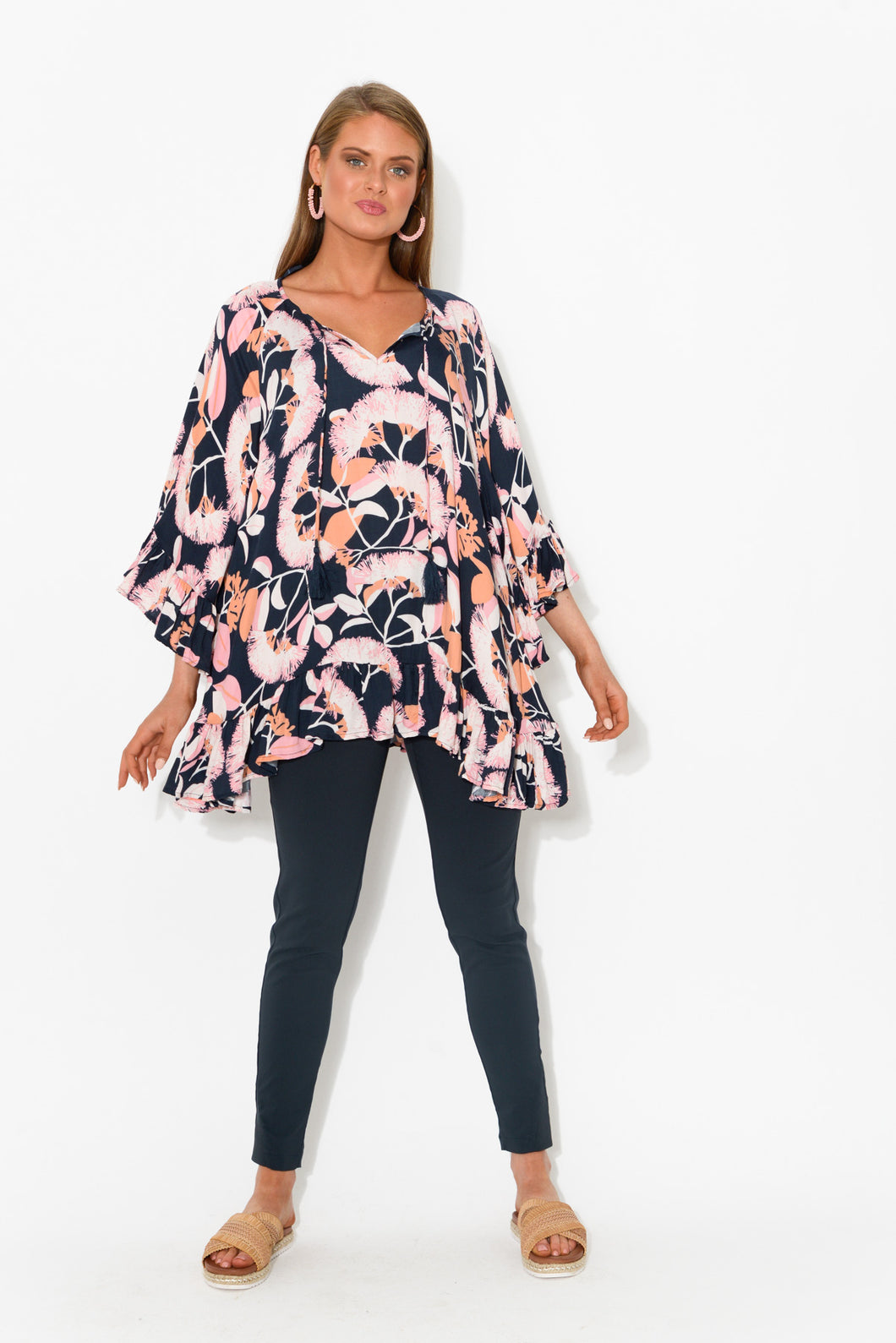 Elyse Navy Floral Ruffle Top - Blue Bungalow