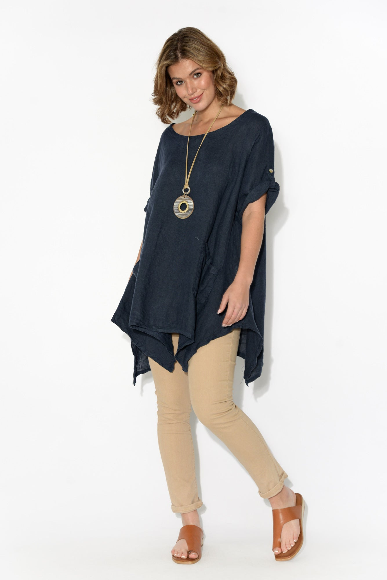 Emelia Navy Linen Pocket Top