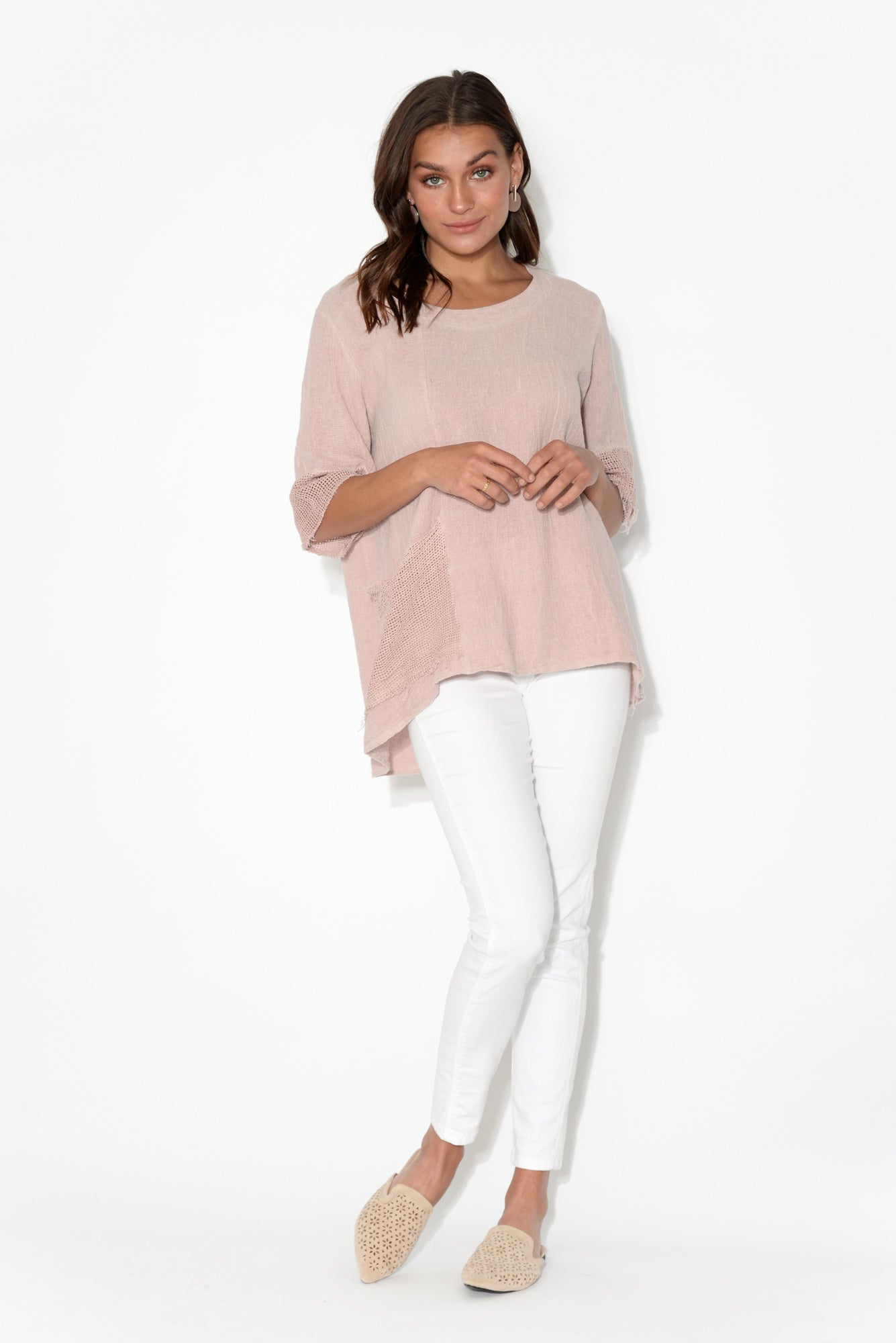 Emily Blush Linen Cotton Panel Top