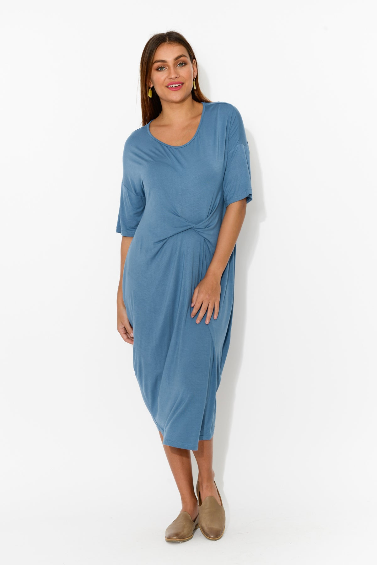 Emmy Blue Twist Front Dress - Blue Bungalow