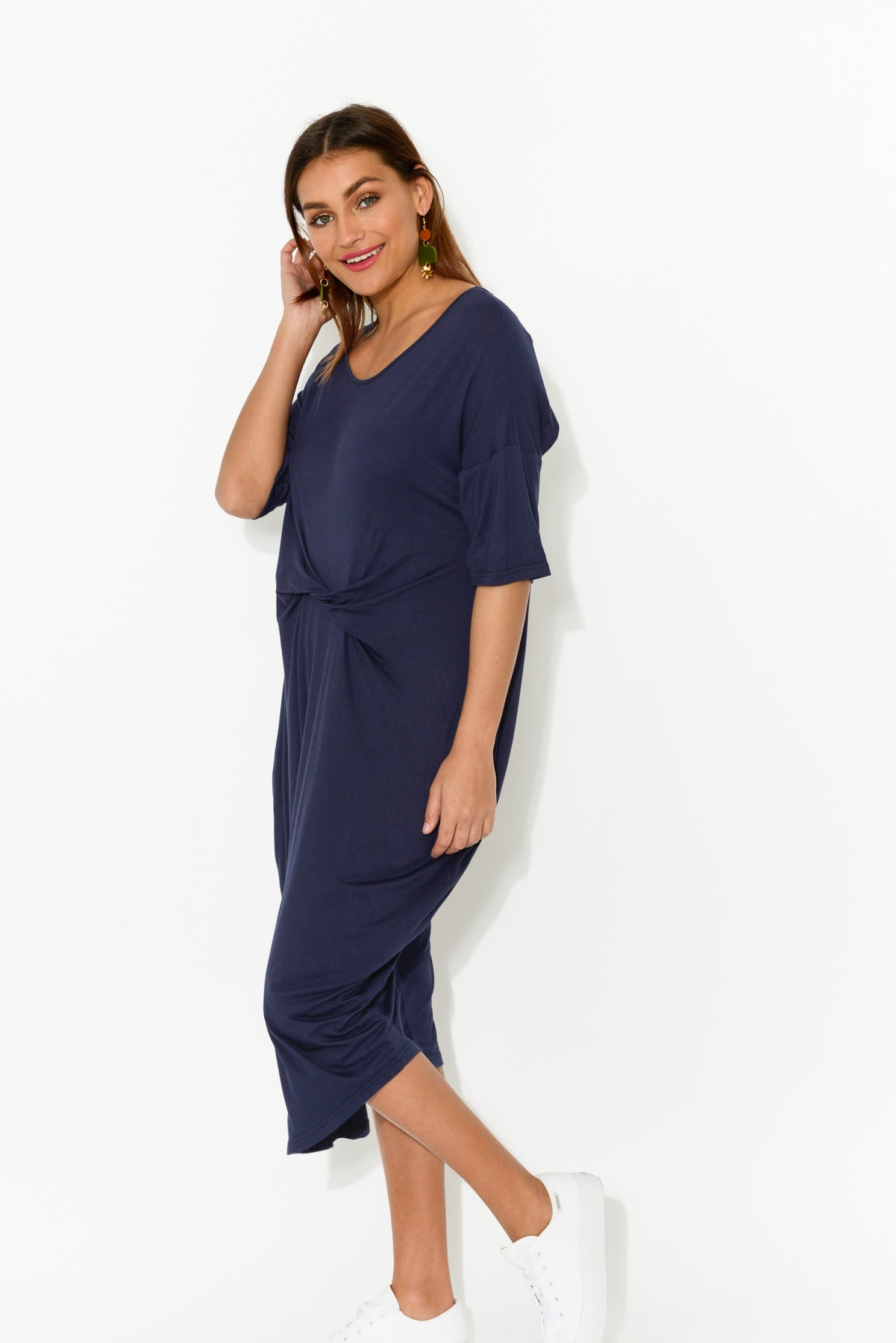 Emmy Navy Twist Front Dress - Blue Bungalow