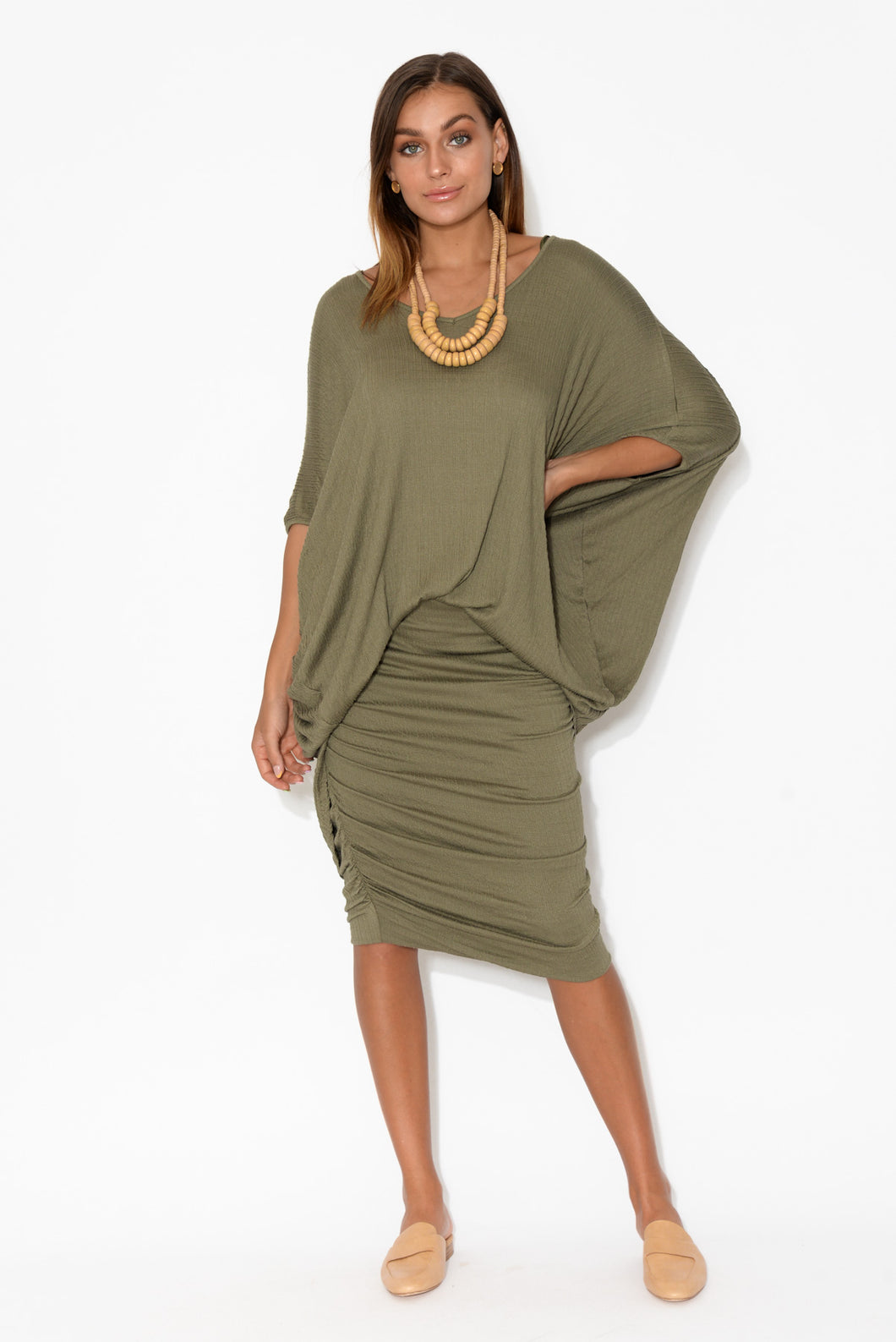 Emory Khaki Textured Batwing Top