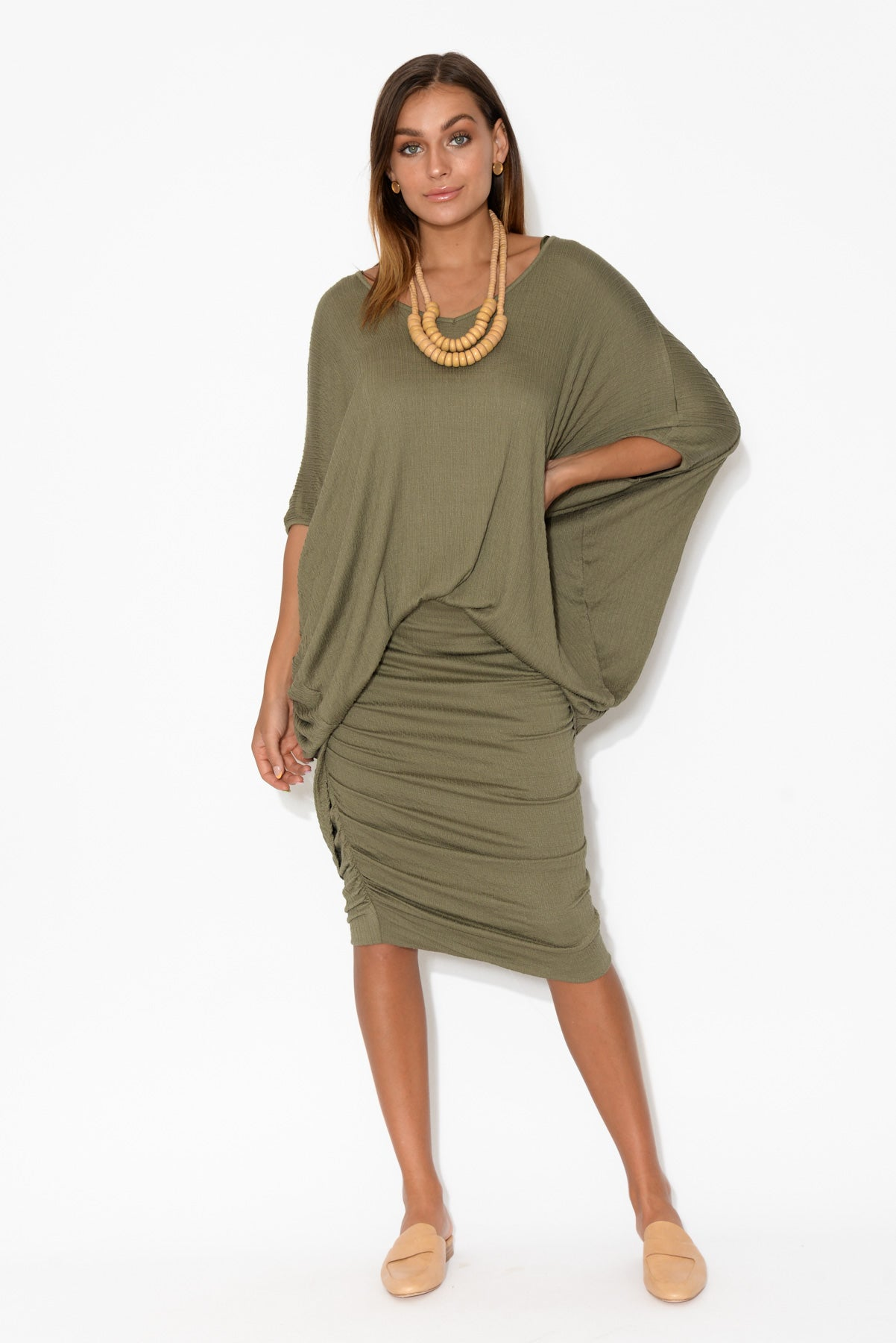 Khaki Textured Ruched Skirt