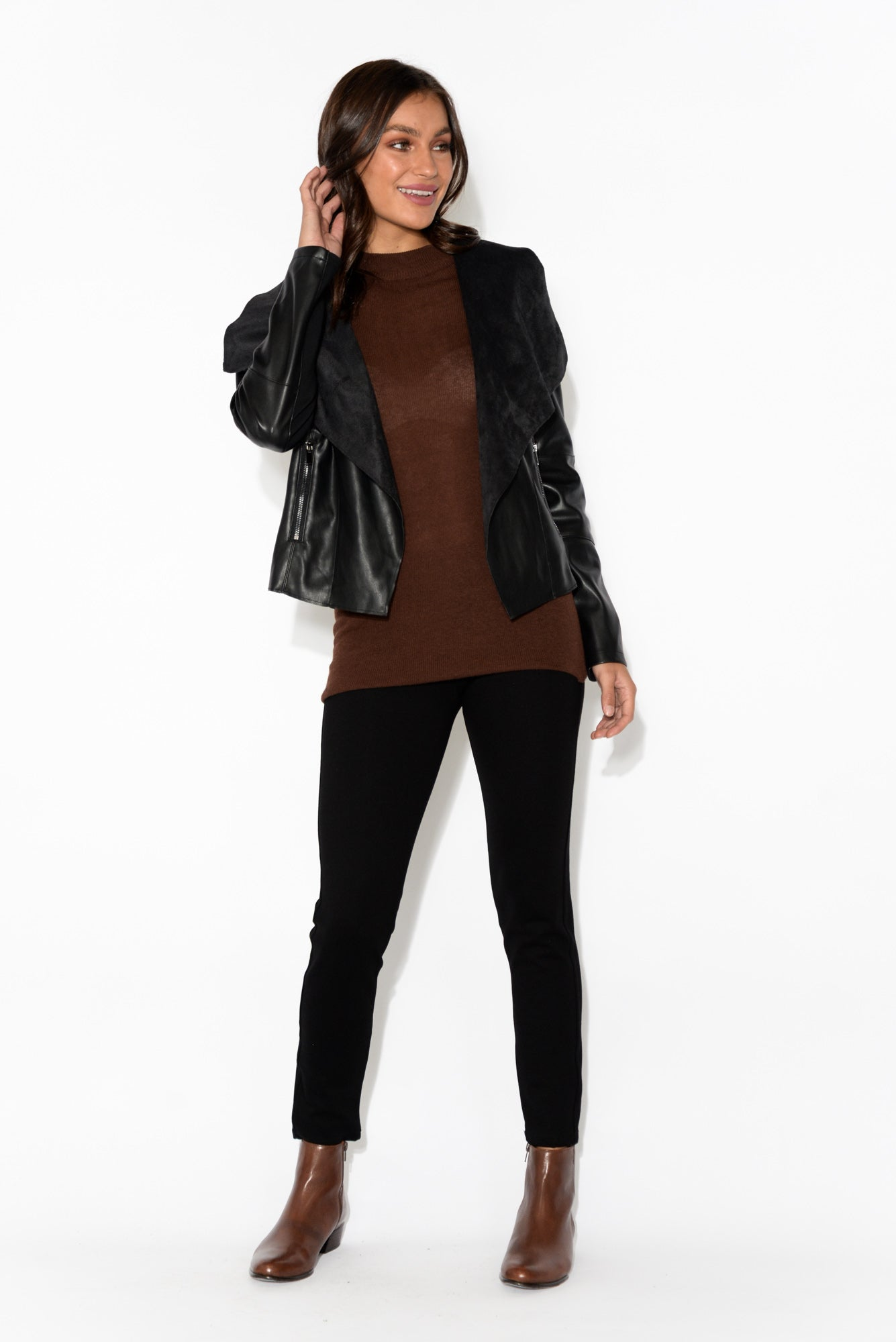 Skyline Rust Knit Sleeved Top