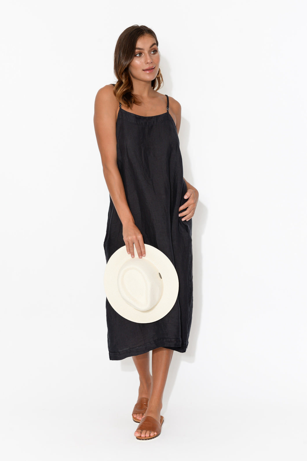 Erika Navy Linen Sleeveless Dress