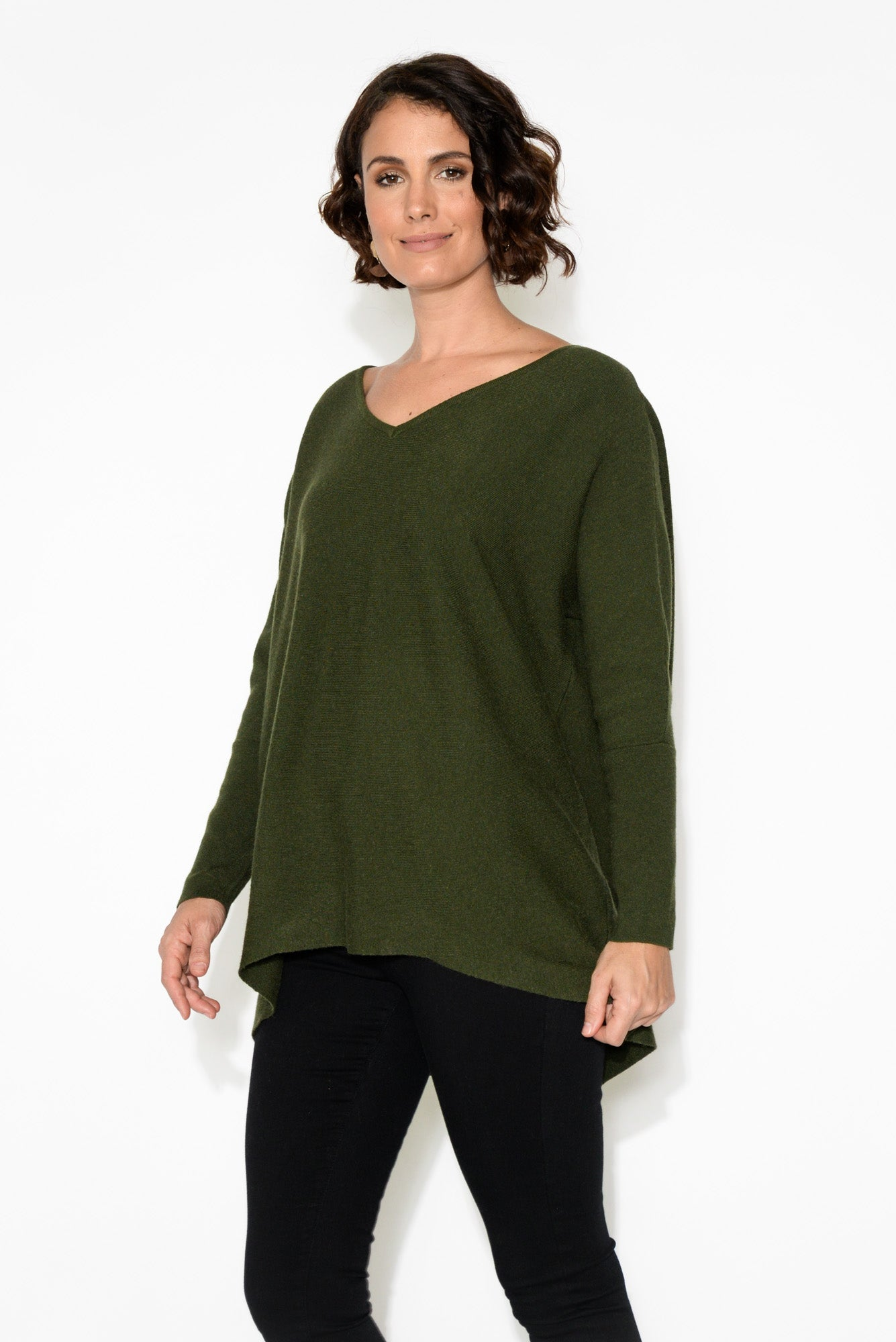 Erin Forest Green Knit Top