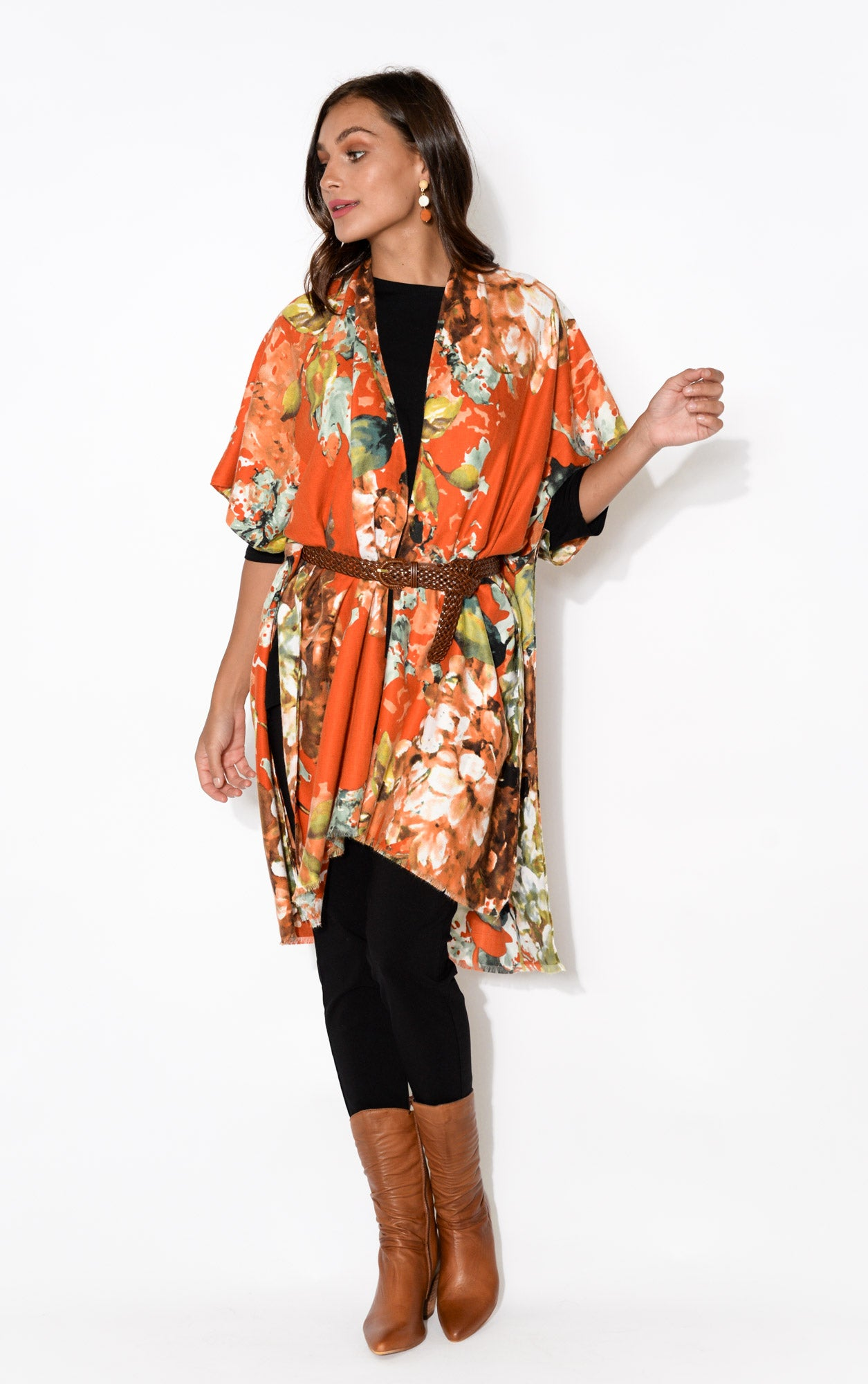 Evan Red Floral Cotton Cape