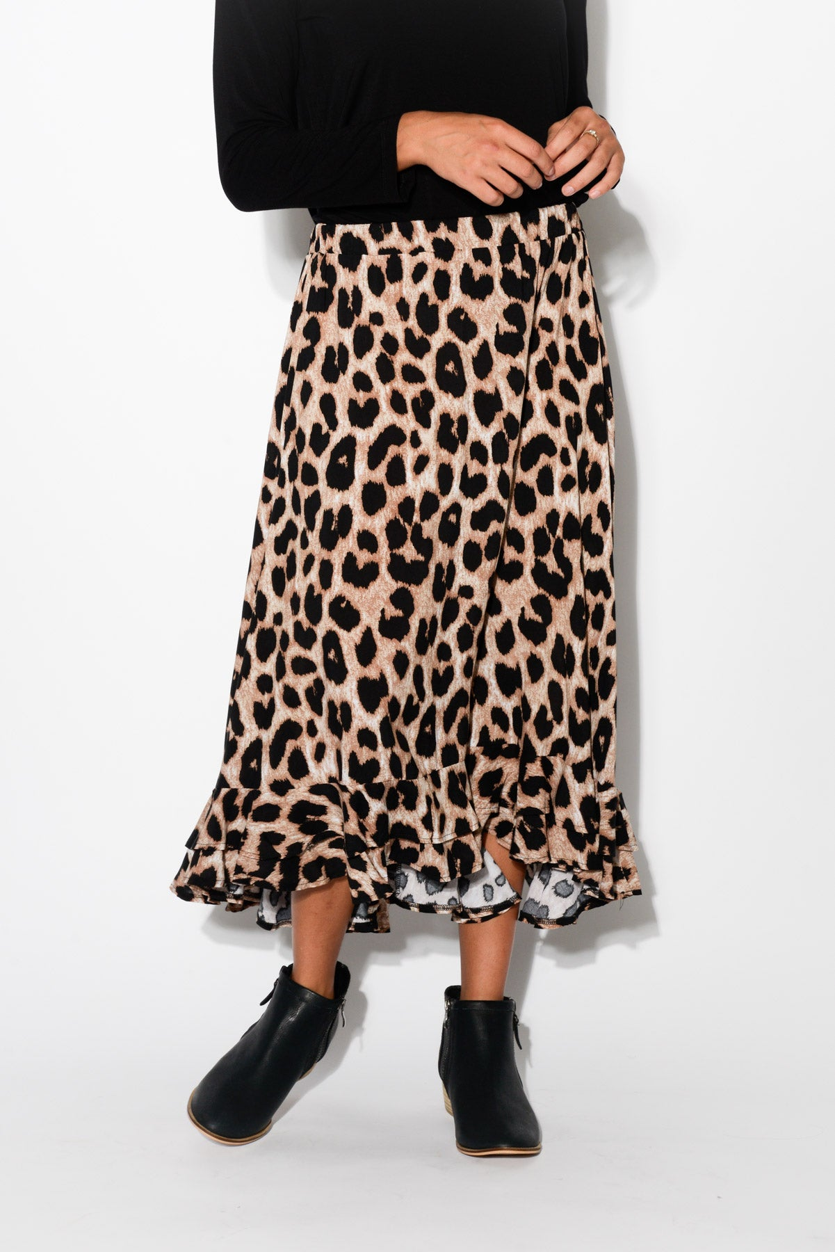 Eve Leopard Hi Lo Skirt - Blue Bungalow