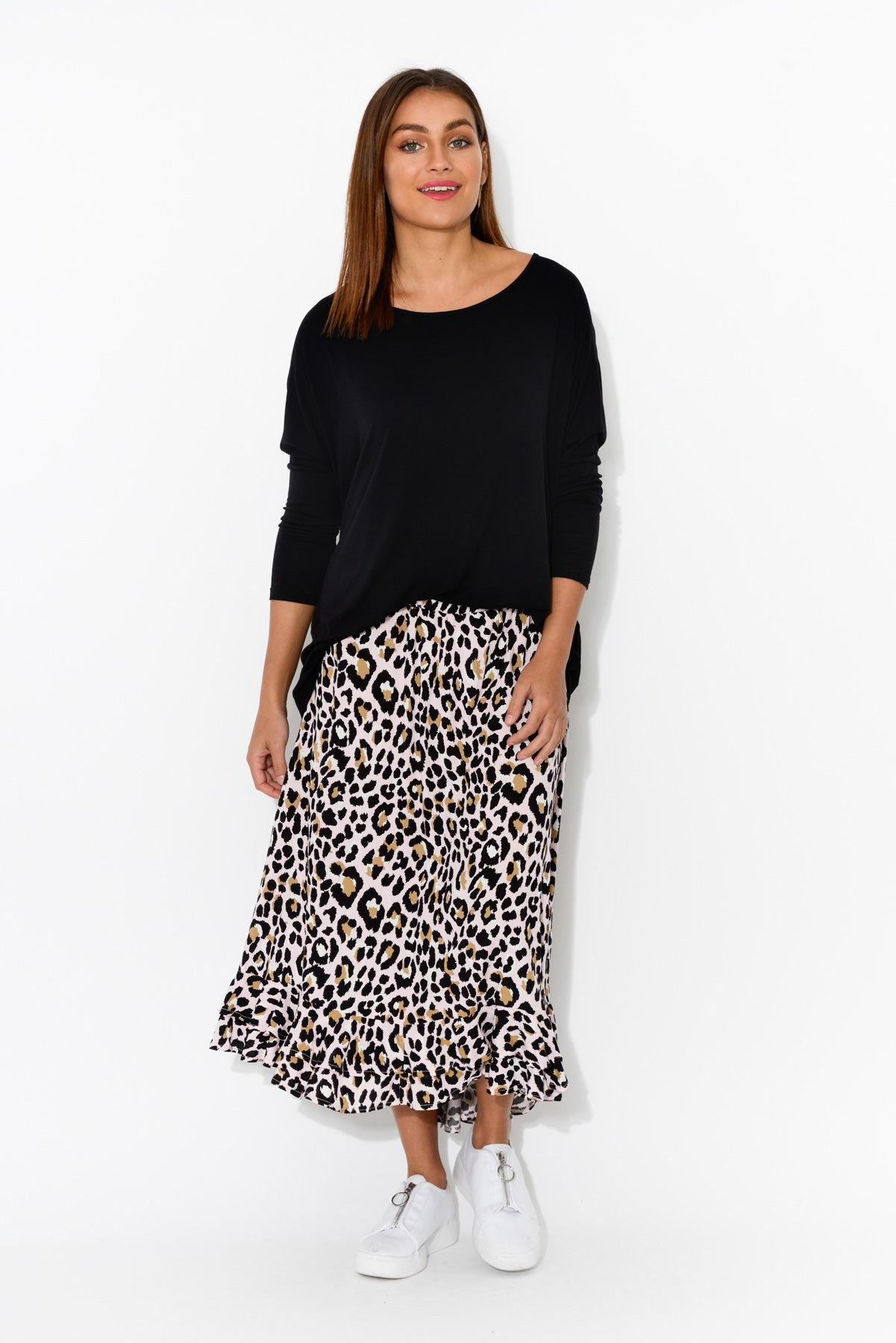 Eve Pink Leopard Hi Lo Skirt - Blue Bungalow