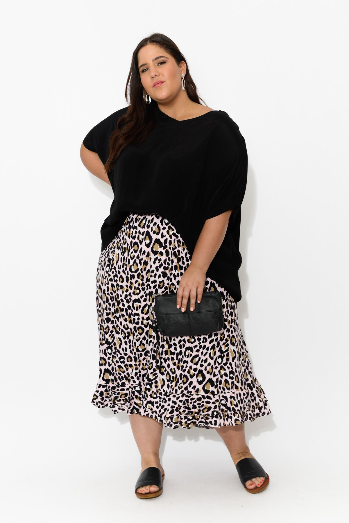 plus-size,curve-bottoms,plus-size-skirts,Eve Pink Leopard Hi Lo Skirt - Blue Bungalow