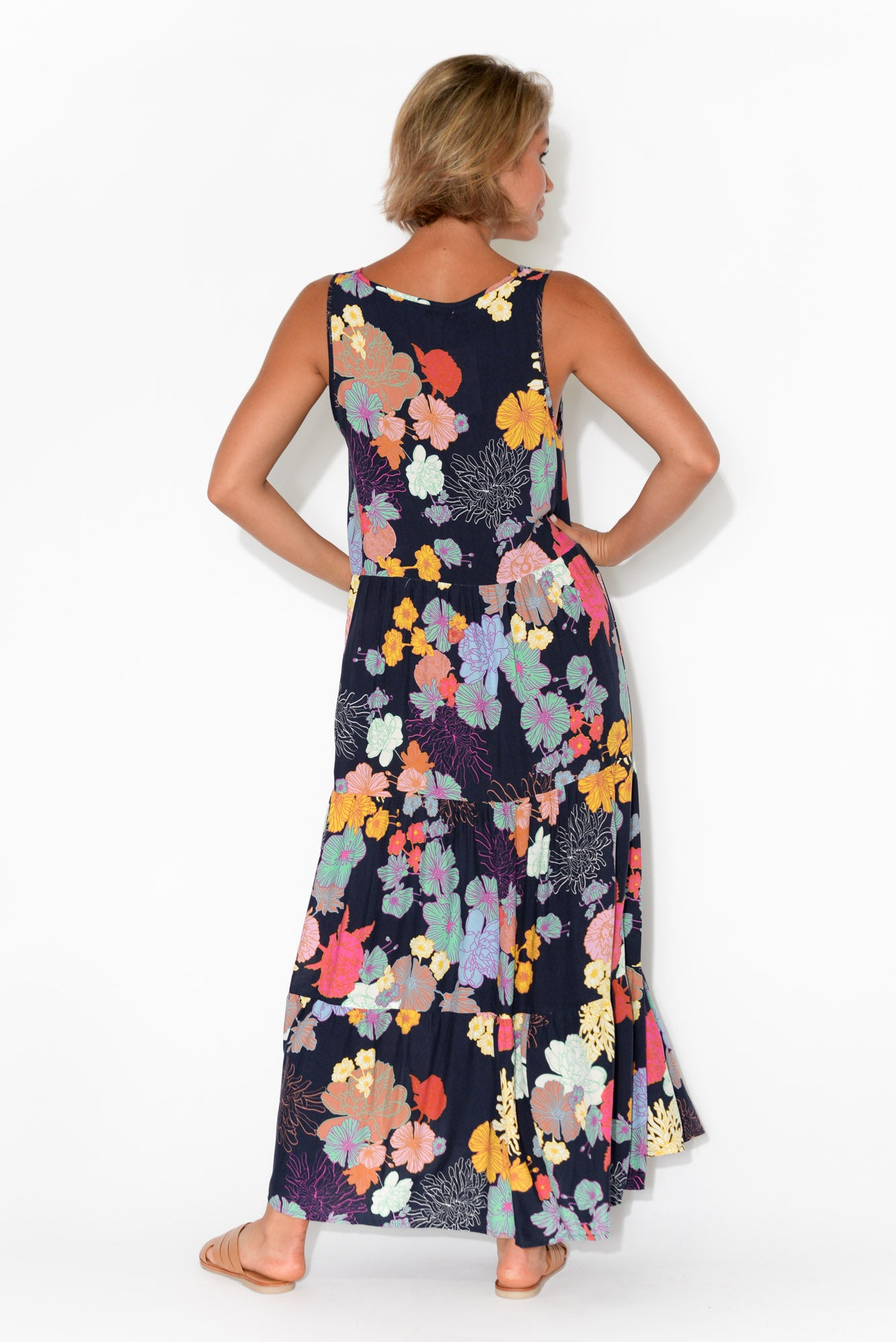 Everly Navy Floral Sleeveless Maxi Dress