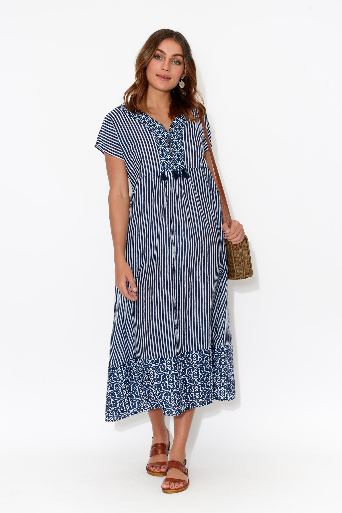 Evie Navy Cotton Midi Dress - Blue Bungalow