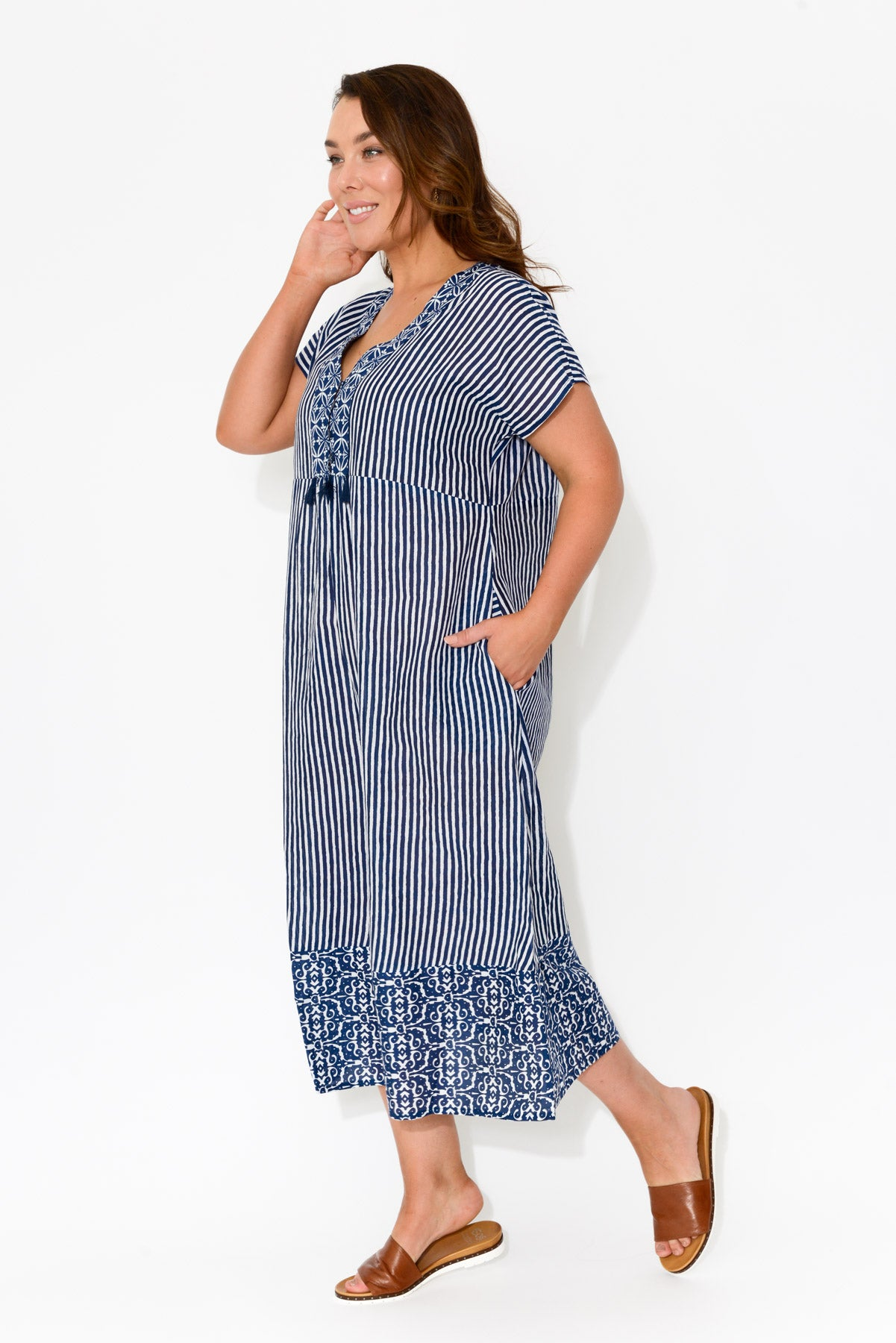 Evie Navy Cotton Midi Dress