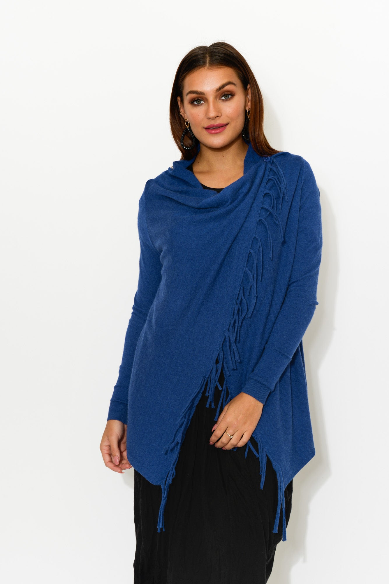 Farrah Blue Fringe Wrap - Blue Bungalow