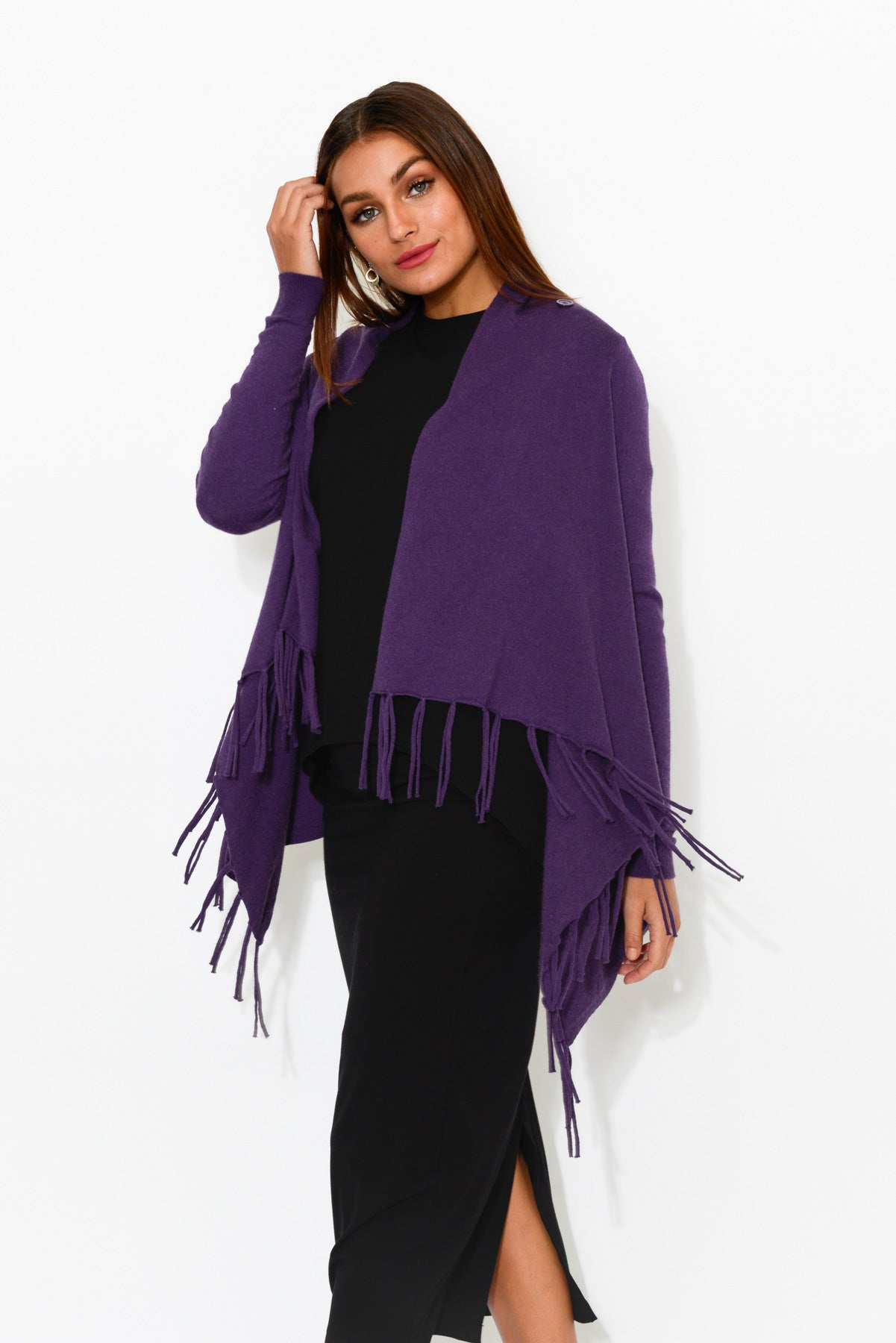 Farrah Purple Fringe Wrap - Blue Bungalow