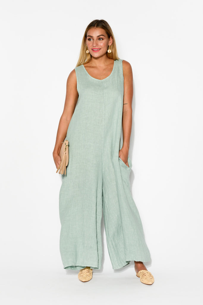 3ad262e2e042 Fay Sea Green Linen Jumpsuit