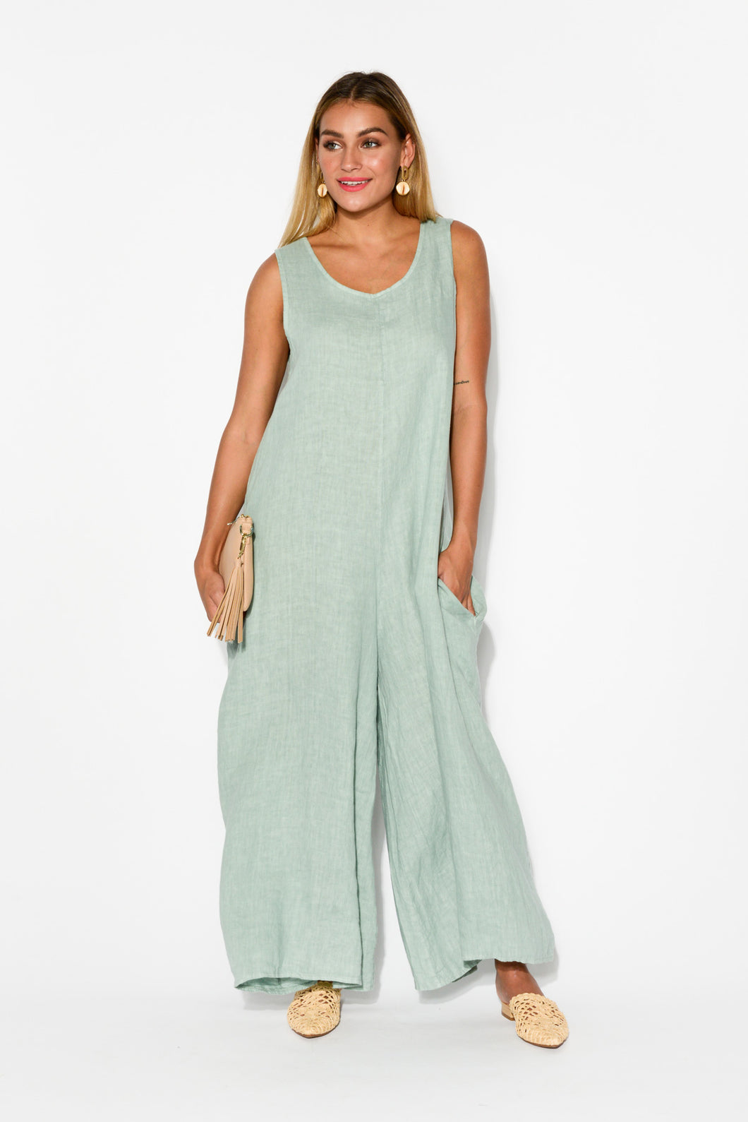 Fay Sea Green Linen Jumpsuit - Blue Bungalow