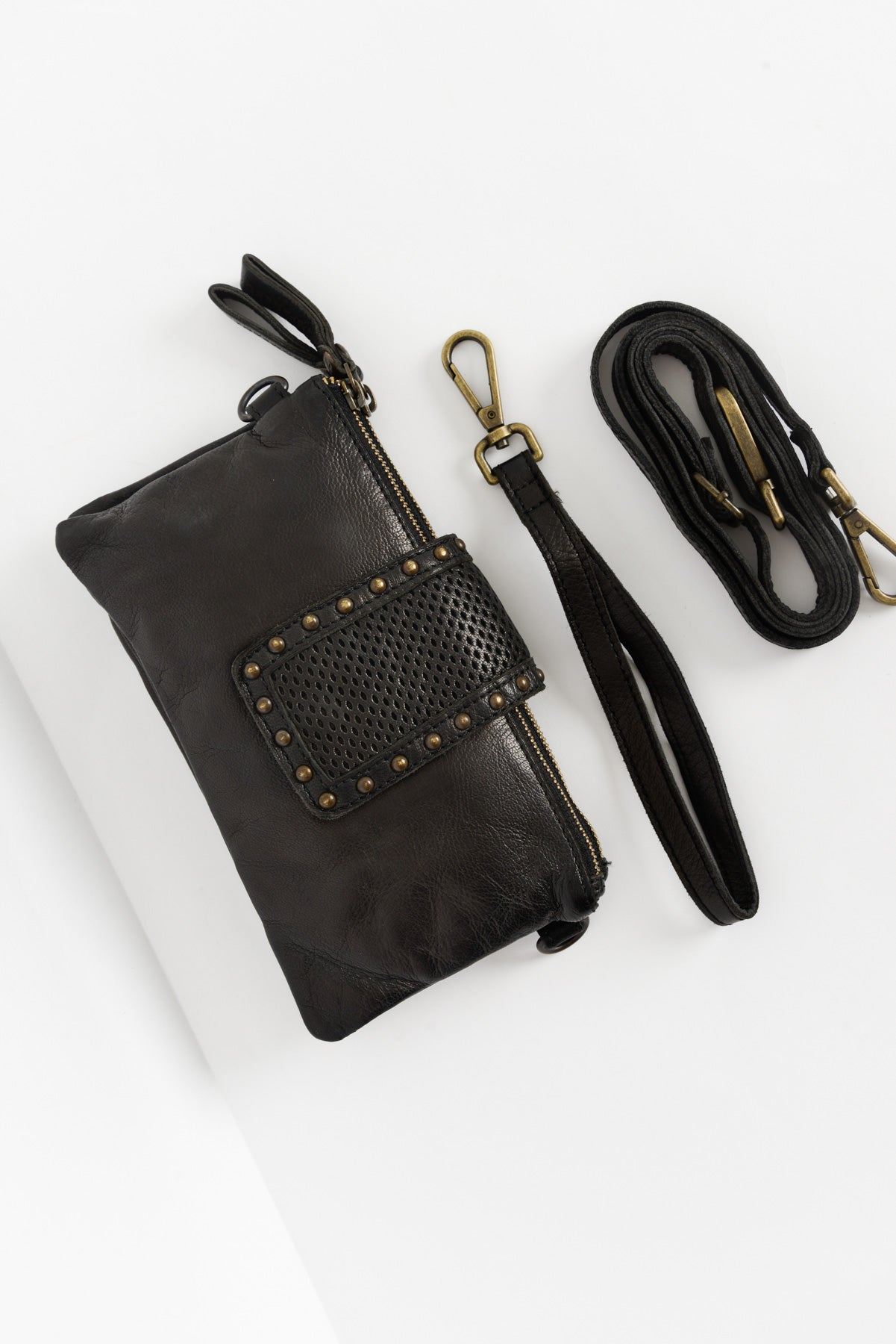 Flair Black Leather Clutch