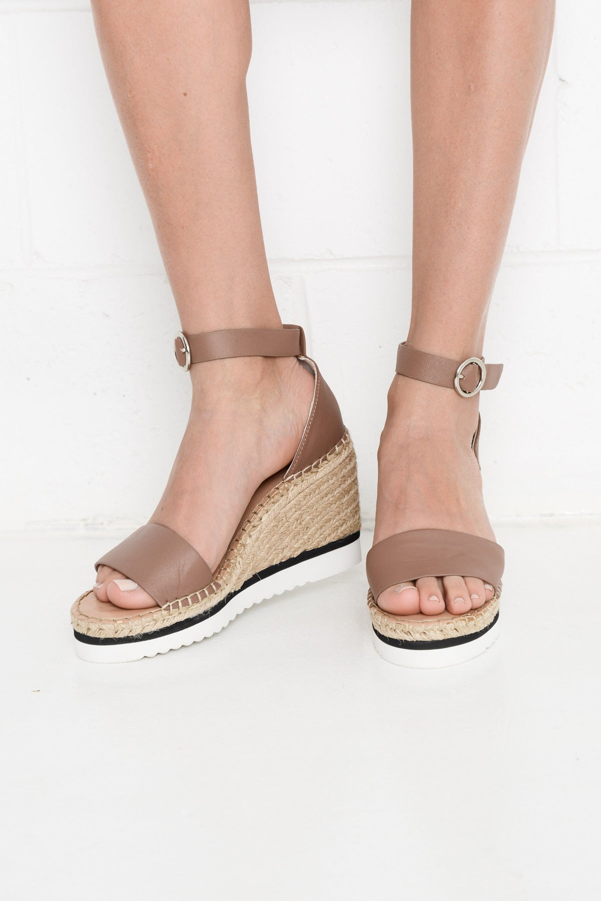 Folk Leather Taupe Wedge Heel - Blue Bungalow