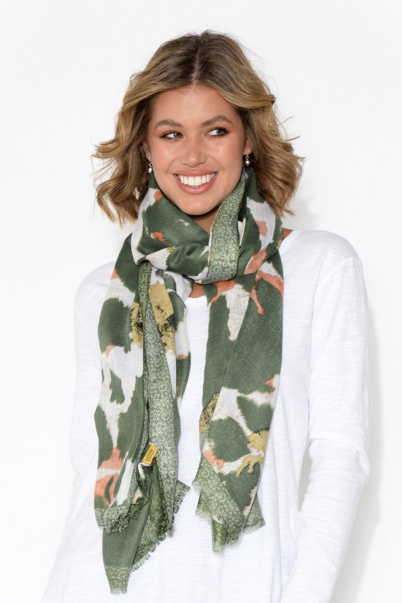 Forest Green Leopard Scarf