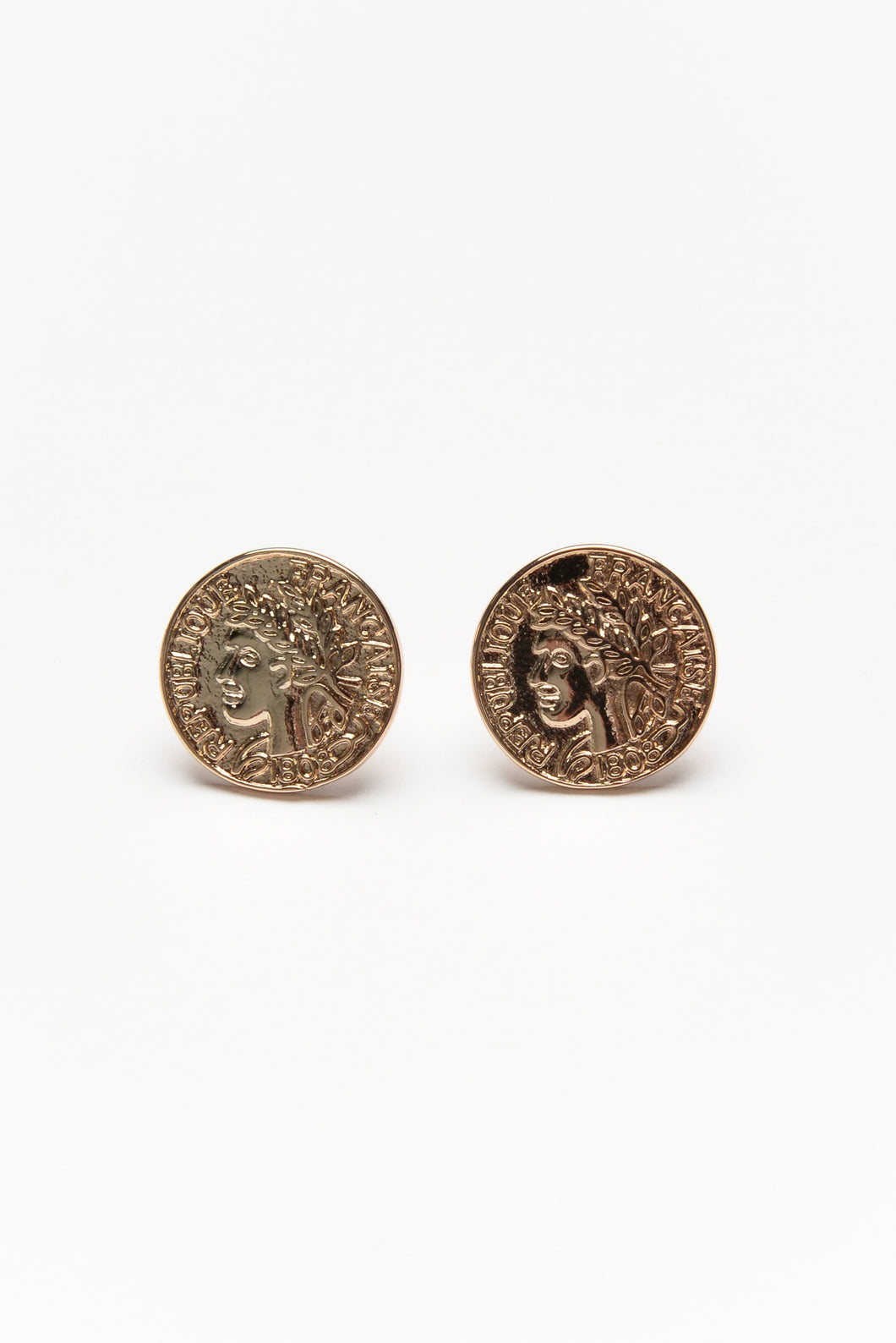 Franc Gold Coin Stud Earring
