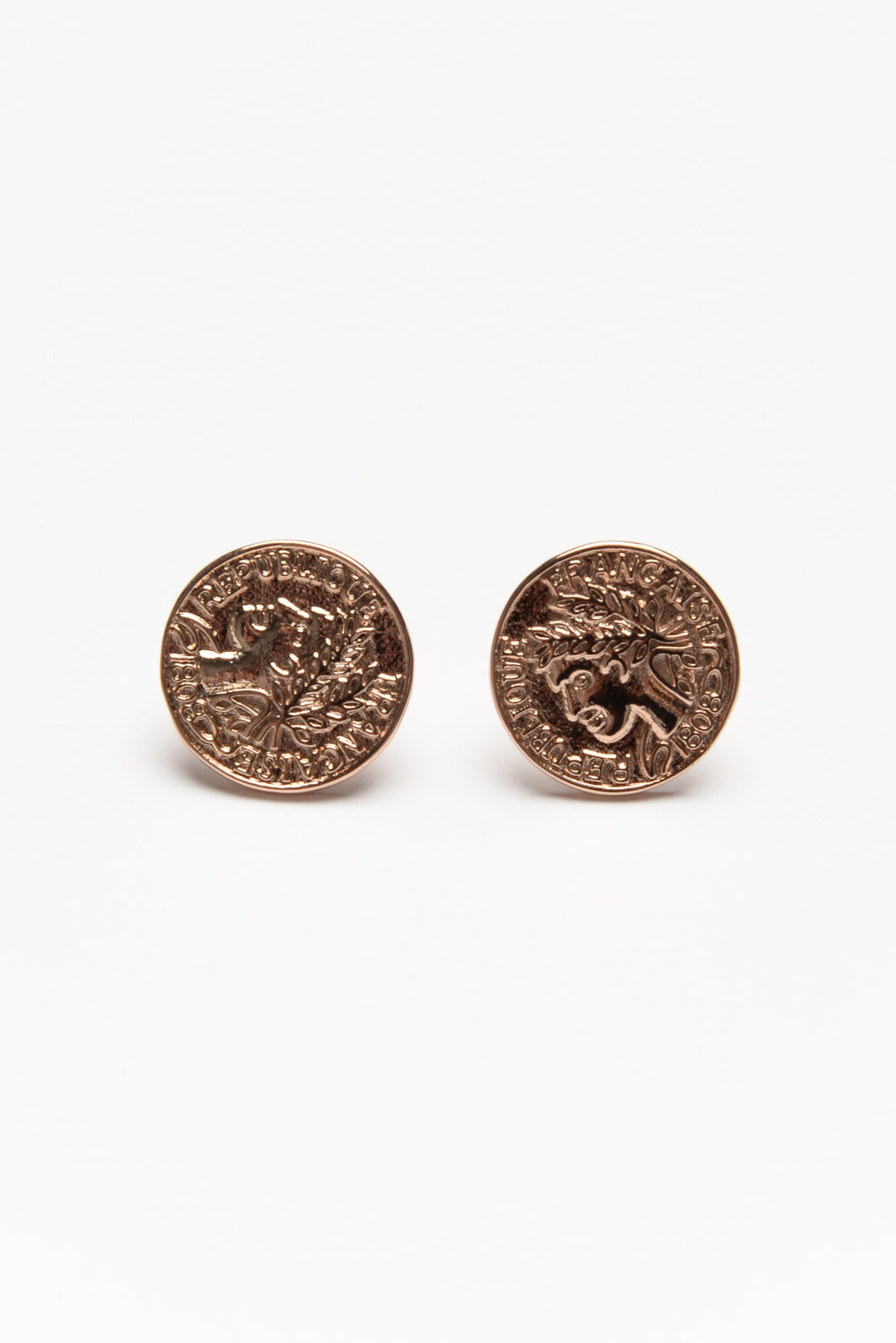 Franc Rose Gold Coin Stud Earring