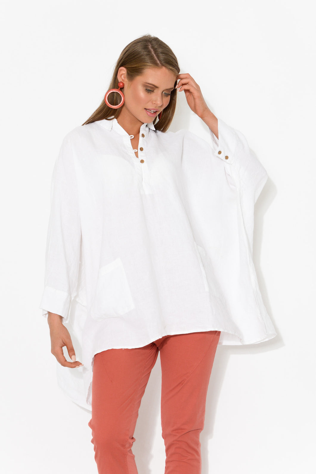 Frankie White Linen Top - Blue Bungalow