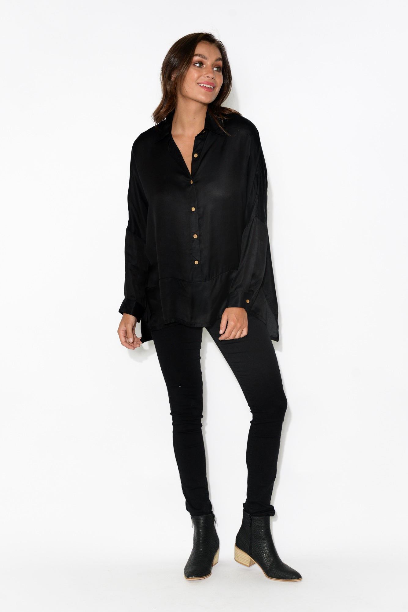 Freddie Black Button Up Shirt